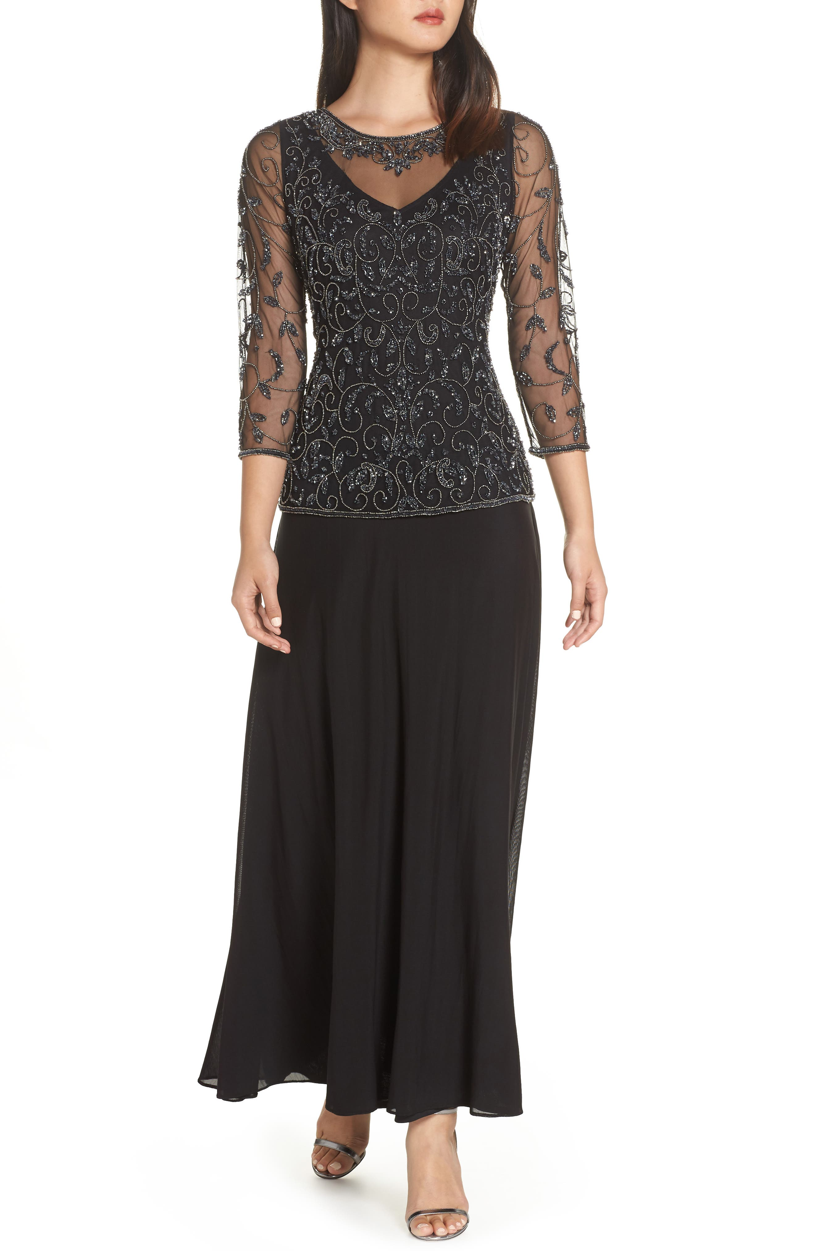 Beaded Mesh Mock Two-Piece Gown,                         Main,                         color, BLACK