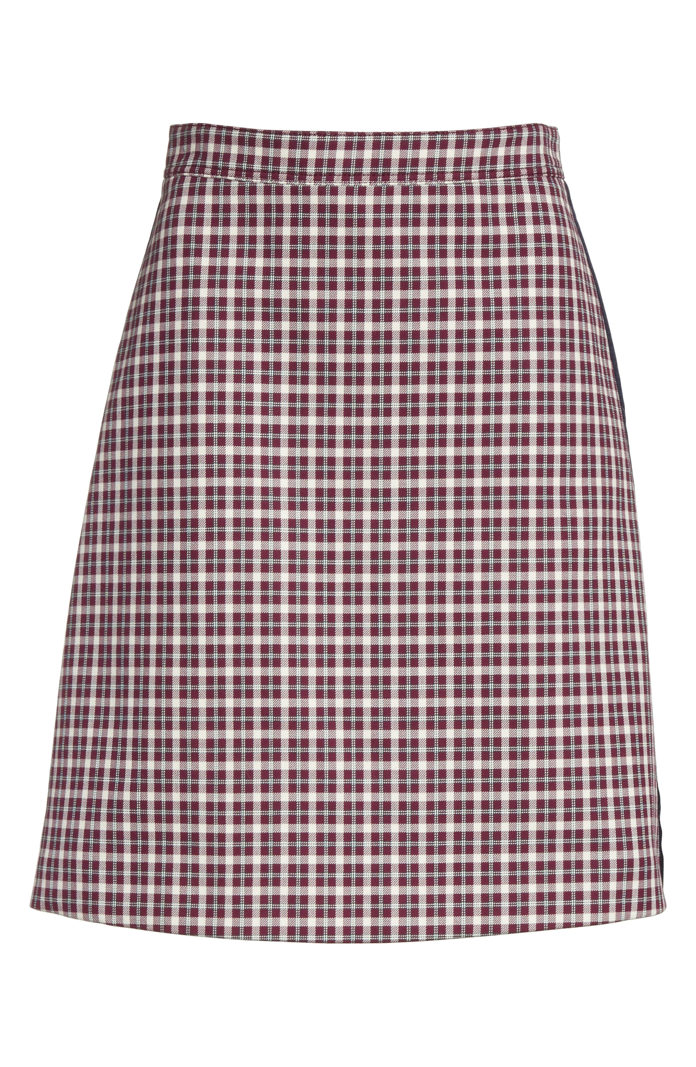 Stanforth Plaid A-Line Skirt,                             Alternate thumbnail 6, color,                             BURGUNDY