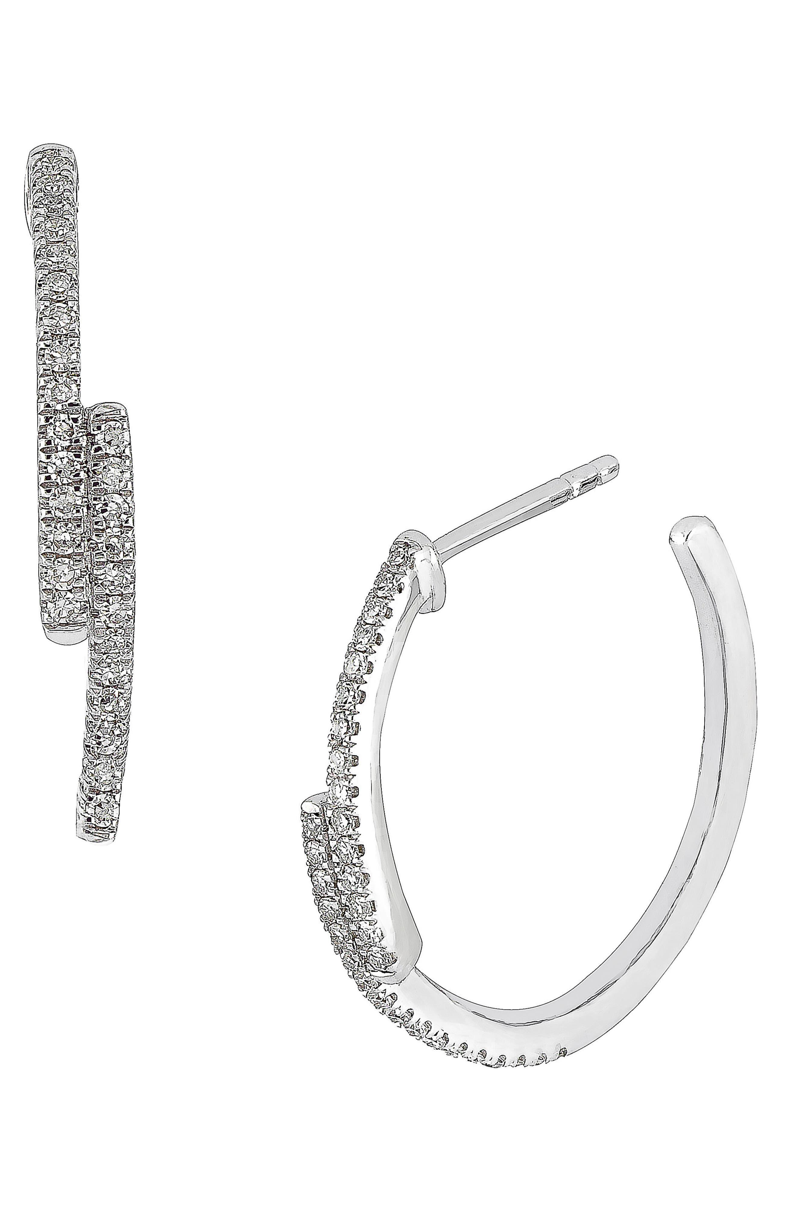 Carrière Small Diamond Hoop Earrings,                             Main thumbnail 1, color,                             SILVER/ DIAMOND