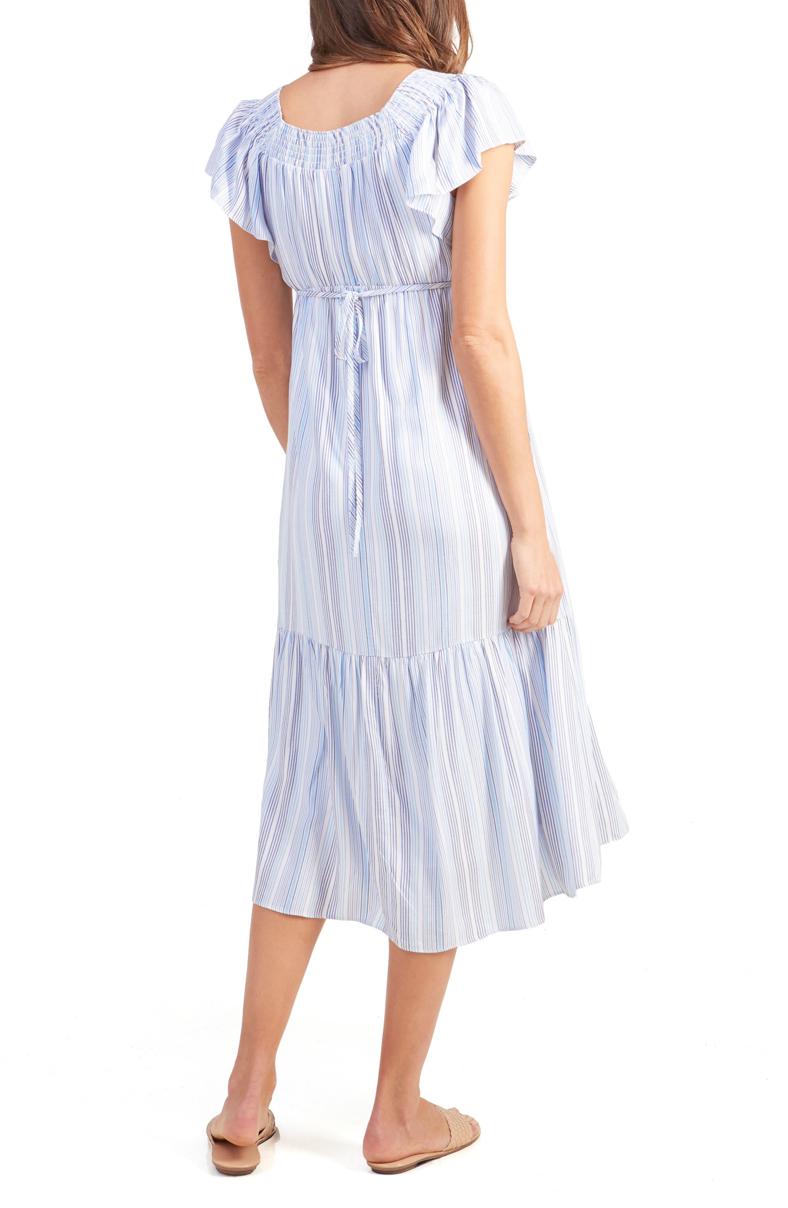 INGRID & ISABEL<SUP>®</SUP>,                             Flutter Sleeve Maternity Midi Dress,                             Alternate thumbnail 2, color,                             BLUE MULTI STRIPE