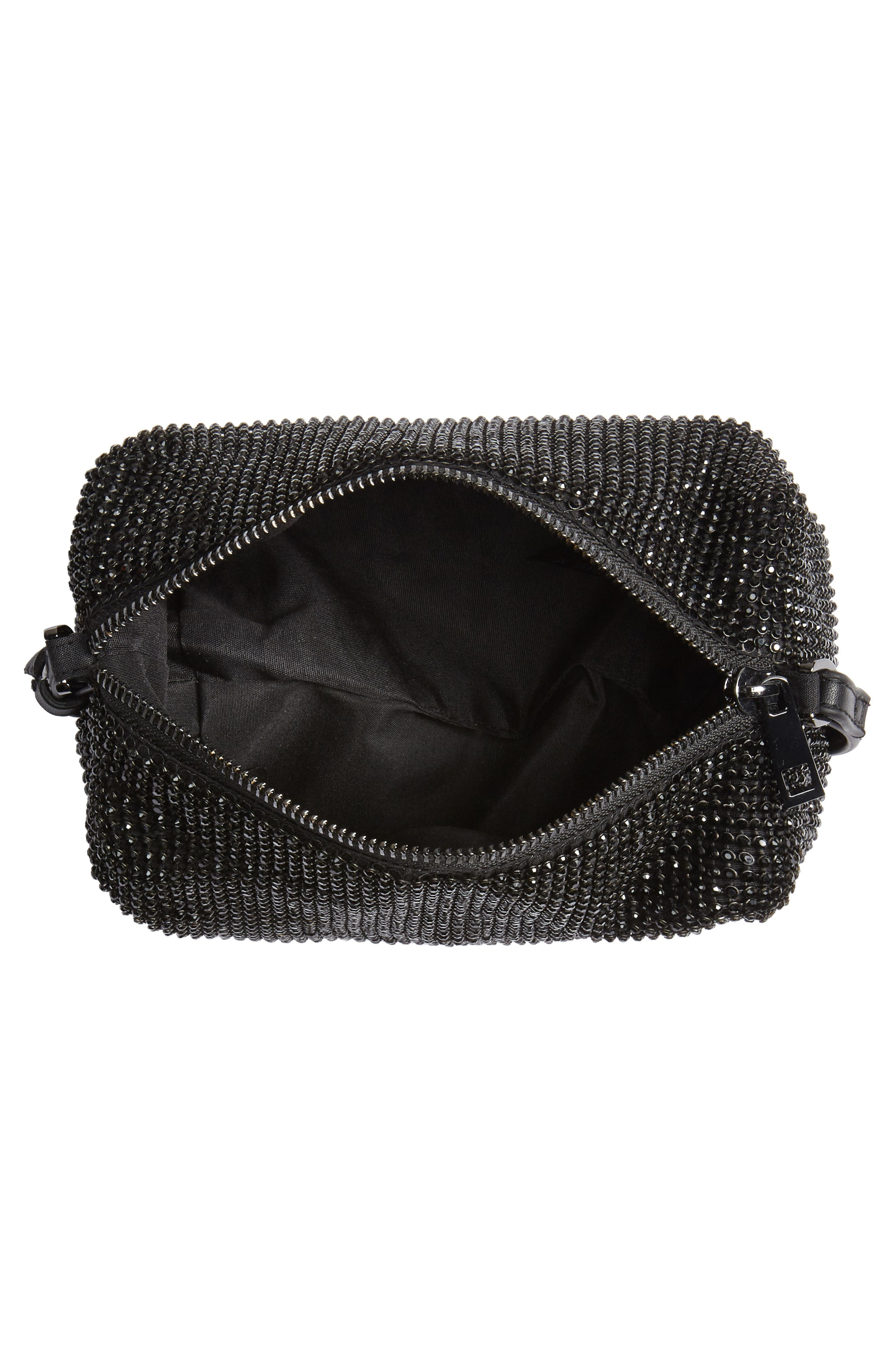 Chia Crystal Embellished Crossbody Bag,                             Alternate thumbnail 4, color,                             BLACK