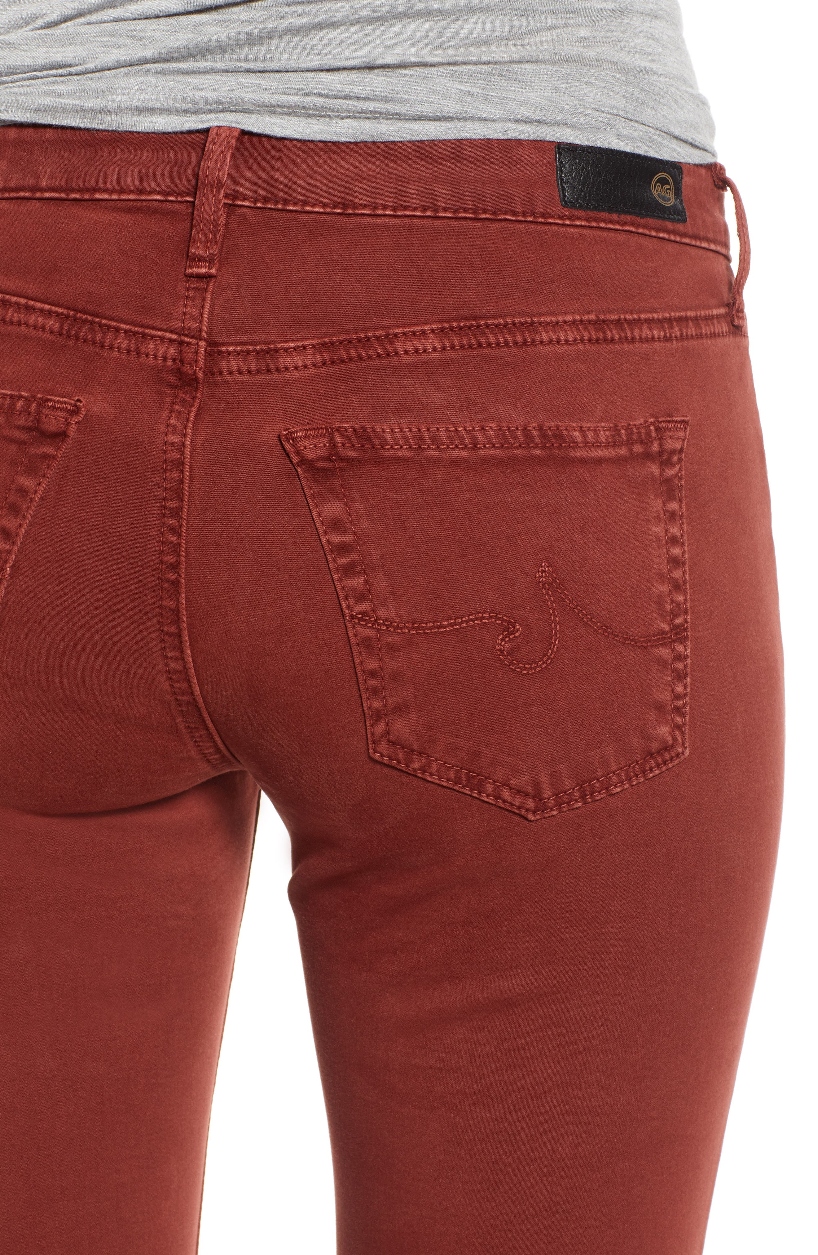 The Legging Ankle Jeans,                             Alternate thumbnail 4, color,                             SULFUR TANNIC RED