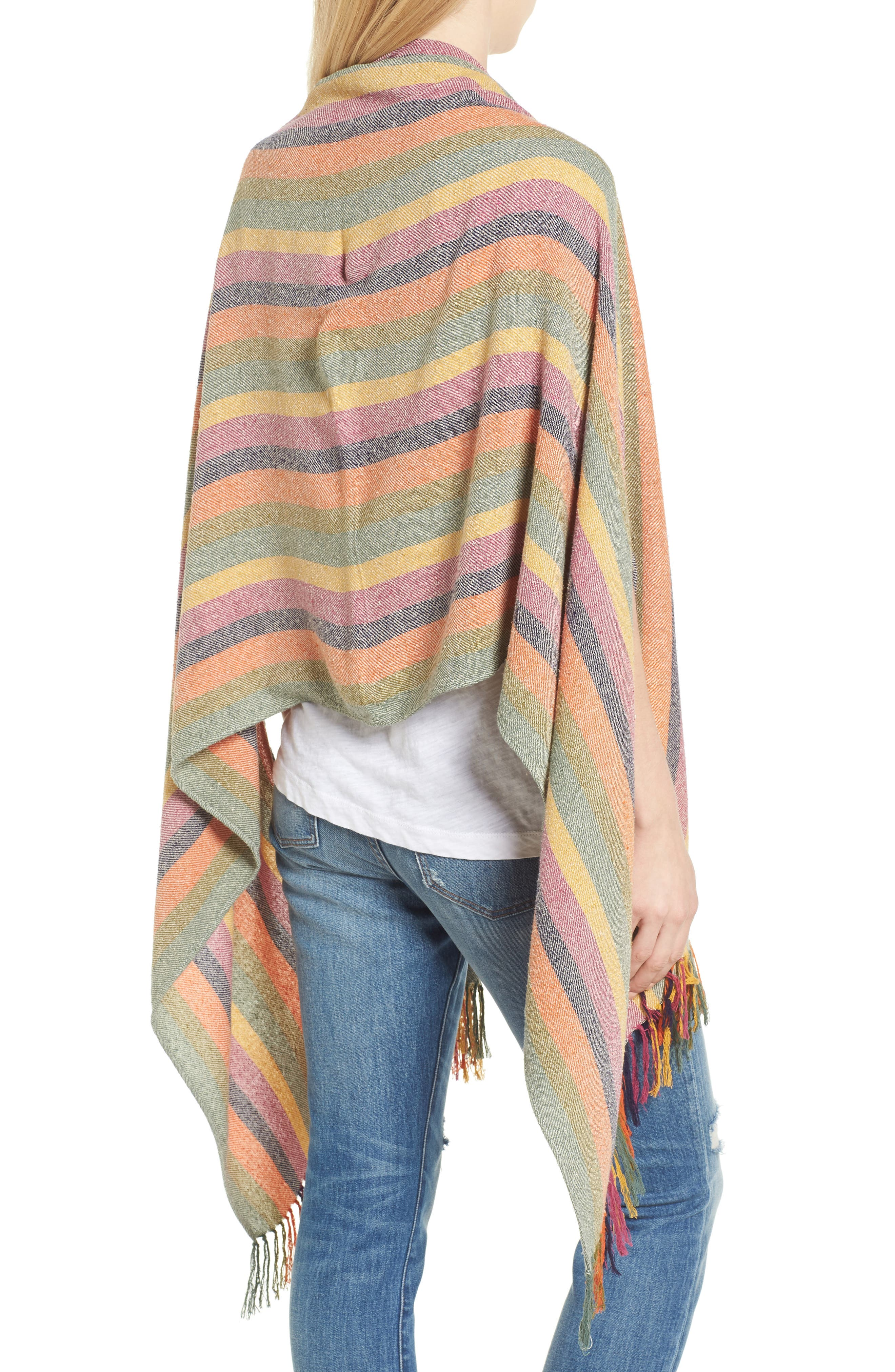 Rainbow Stripe Silk & Cotton Cape Scarf,                             Alternate thumbnail 2, color,                             650