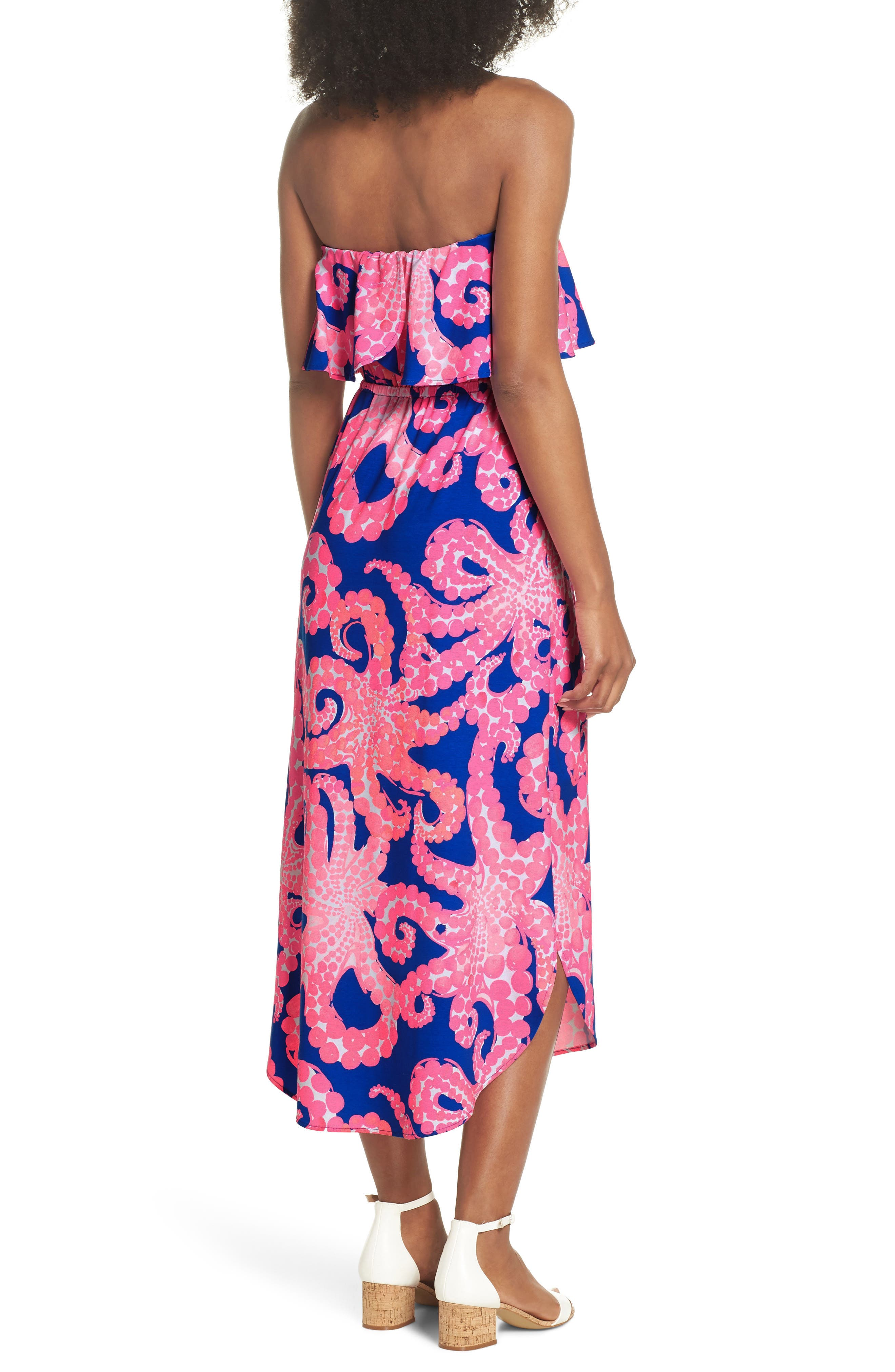Meridian Strapless Midi Dress,                             Alternate thumbnail 2, color,                             IKAT BLUE MOCEAN