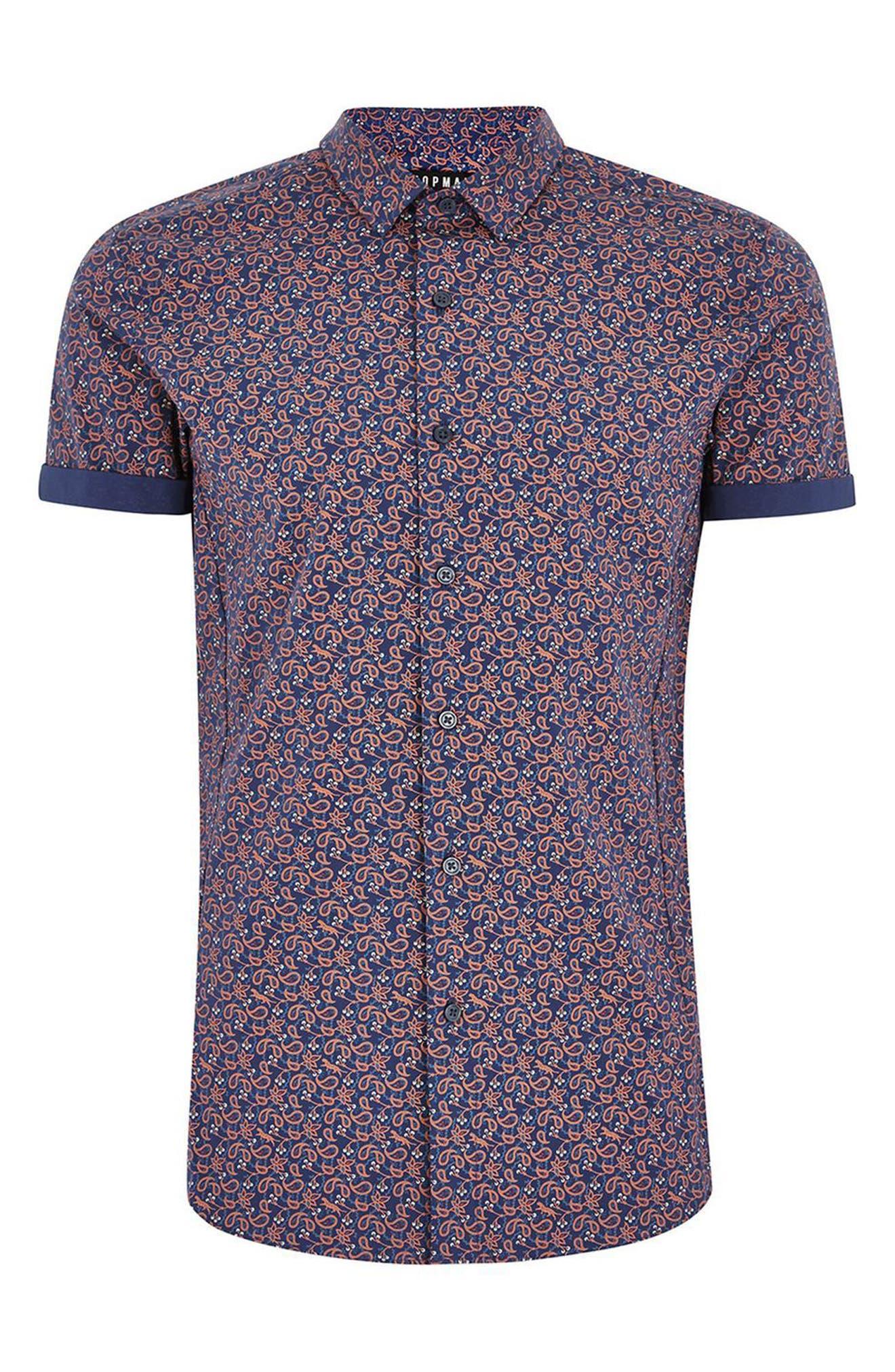 TOPMAN,                             Muscle Fit Eclectic Paisley Print Shirt,                             Alternate thumbnail 4, color,                             400