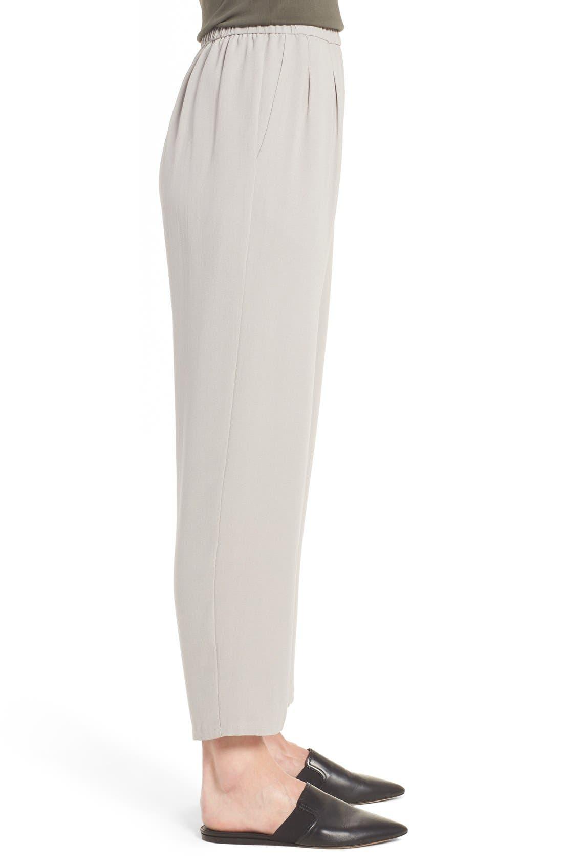 Silk Georgette Crepe Straight Ankle Pants,                             Alternate thumbnail 14, color,