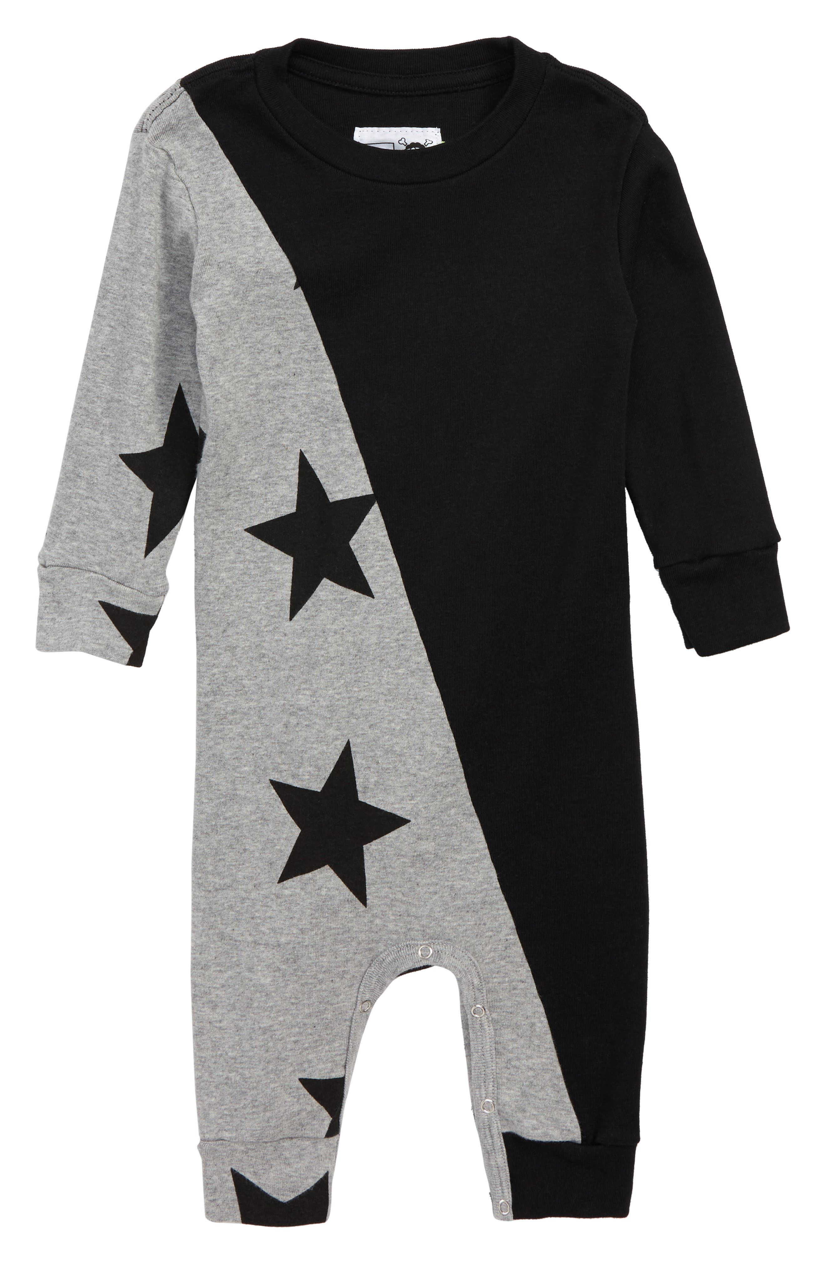 1/2 and 1/2 Star Romper,                             Main thumbnail 1, color,                             BLACK/ HEATHER GREY
