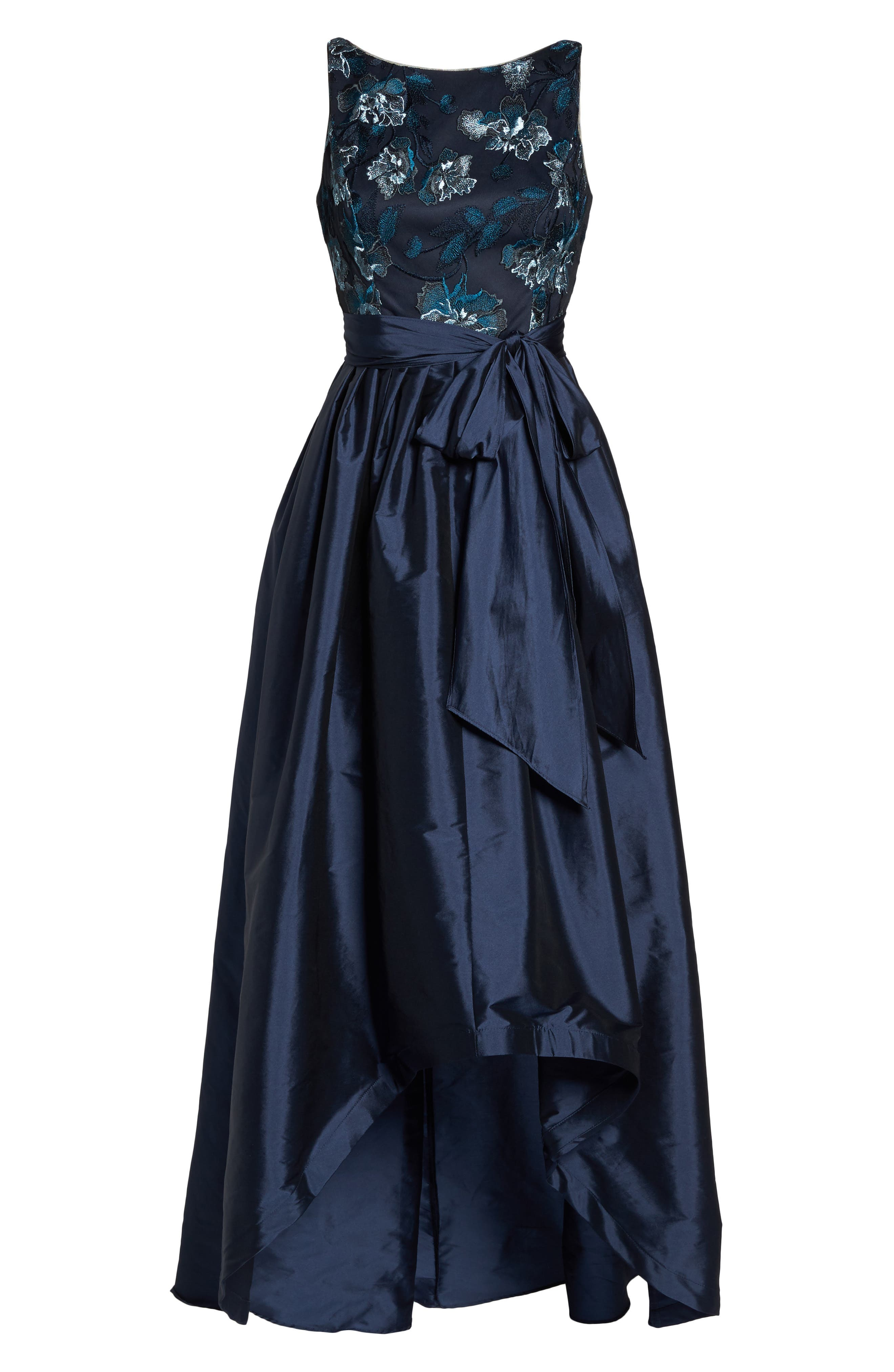 Embroidered Taffeta High/Low Gown,                             Alternate thumbnail 6, color,