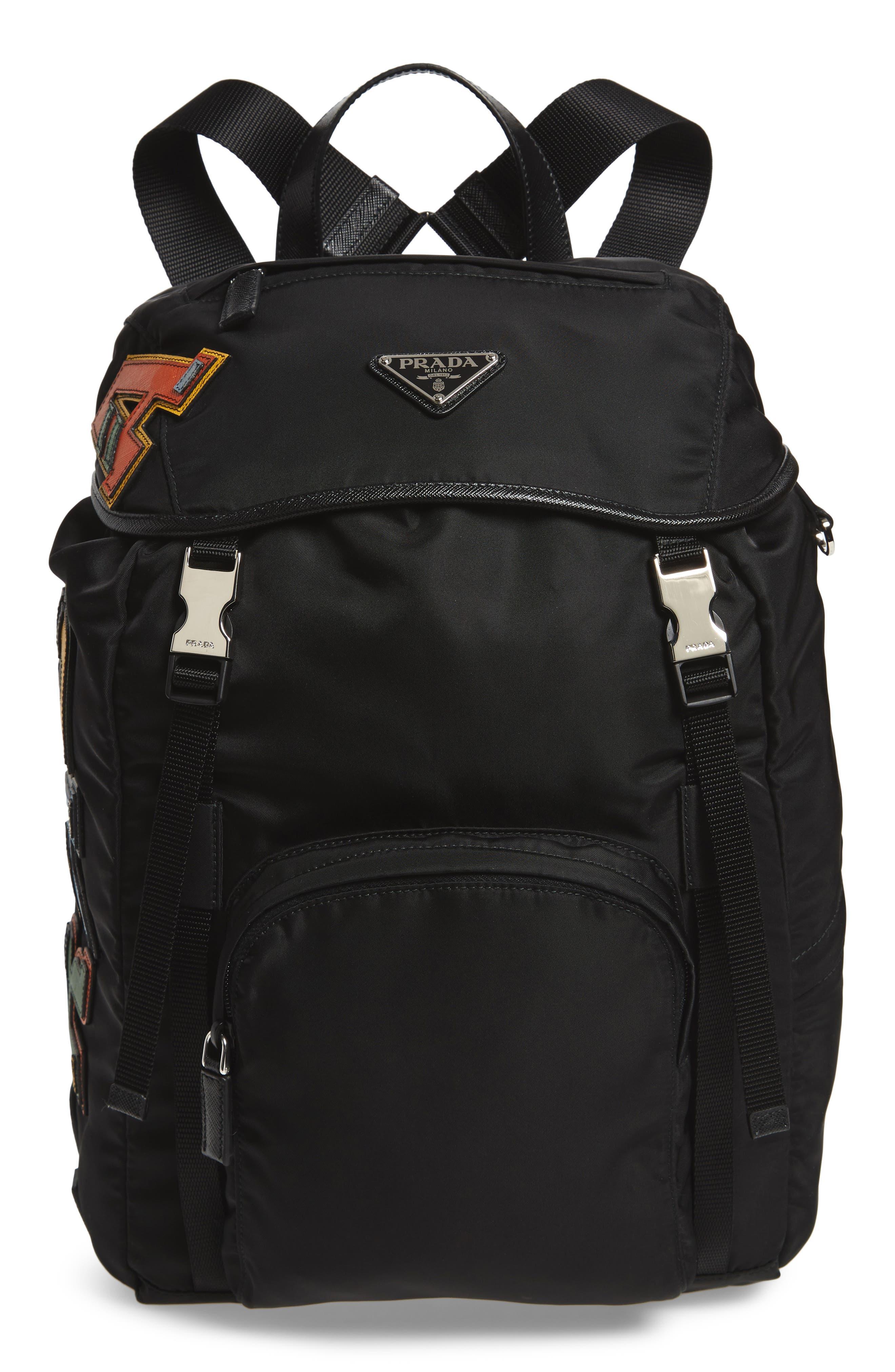 PRADA Tessuto Lettering Unisex Nylon Backpack, Main, color, 001