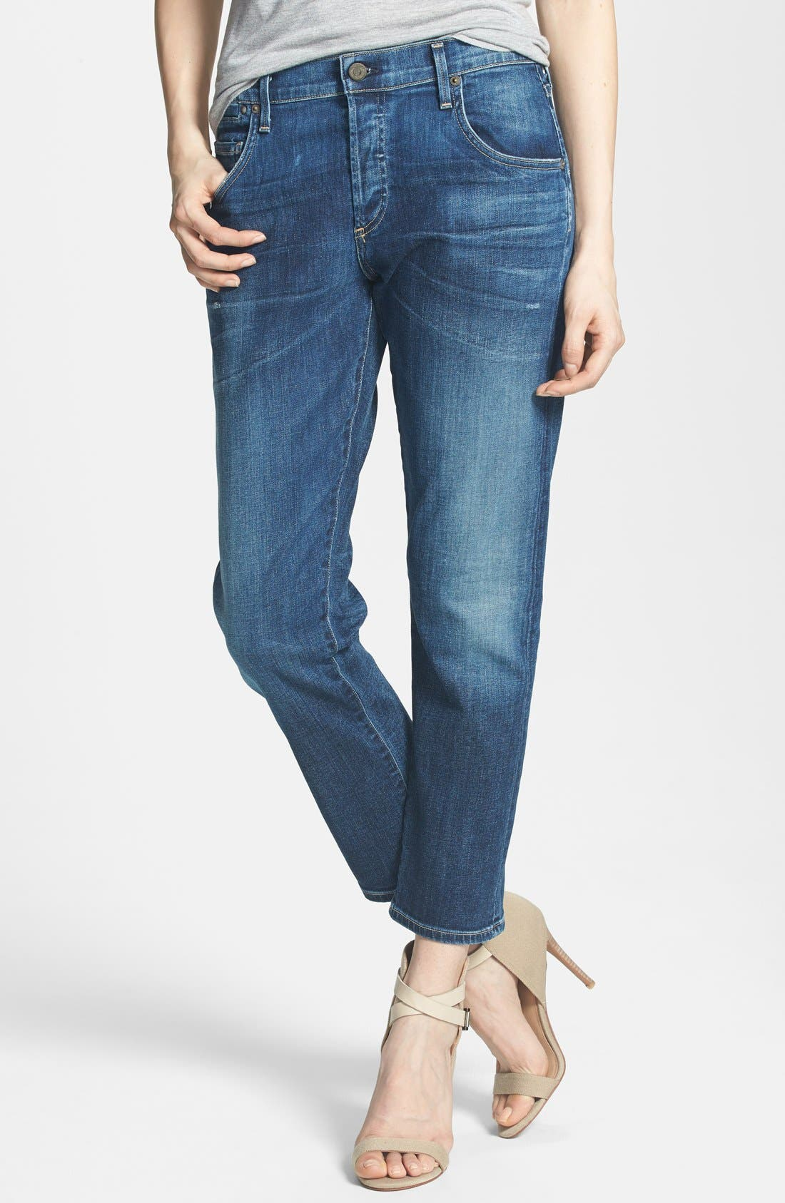 Emerson Slim Boyfriend Jeans,                             Main thumbnail 1, color,                             BLUE RIDGE