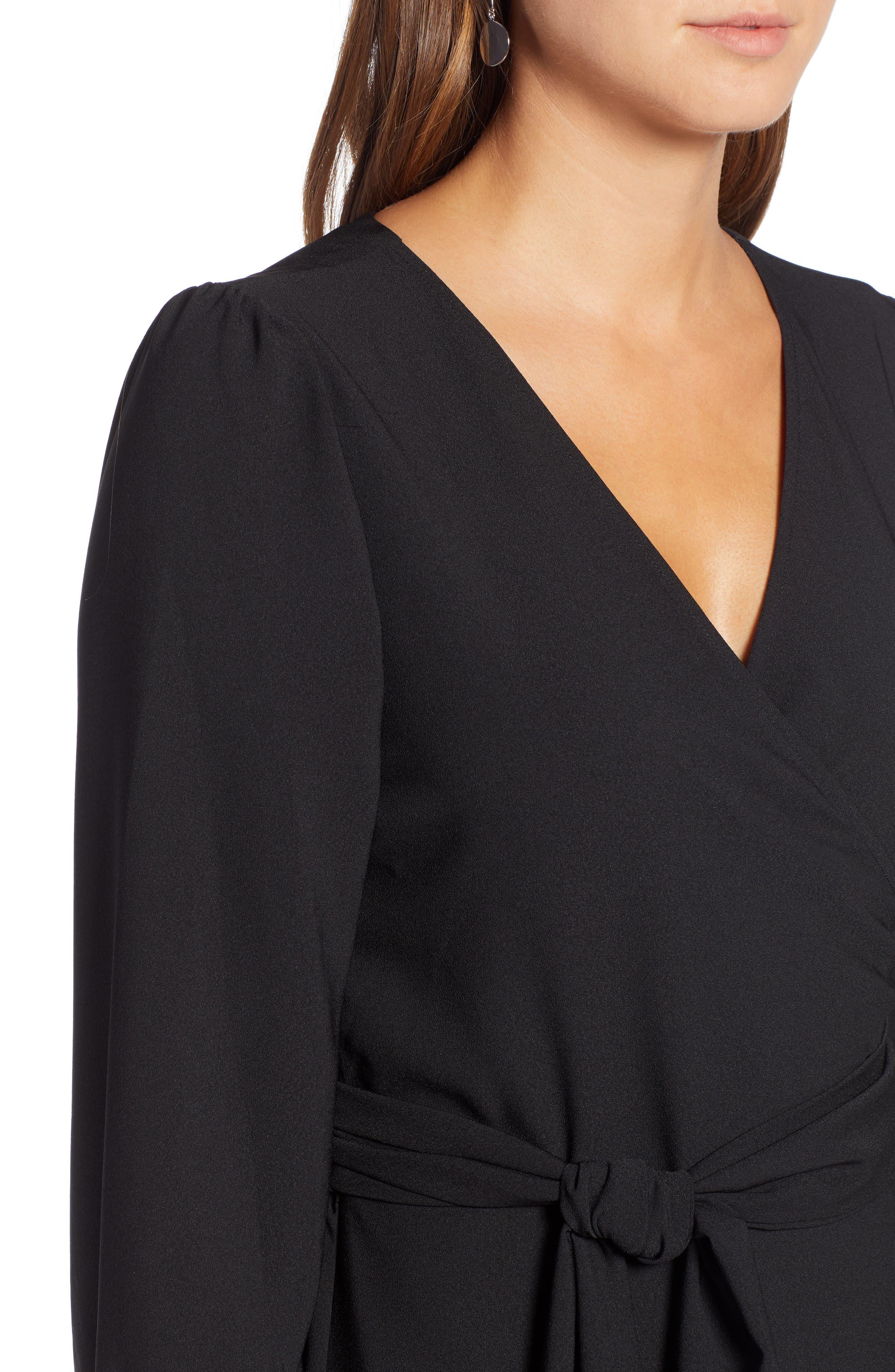 Wrap Dress,                             Alternate thumbnail 4, color,                             BLACK