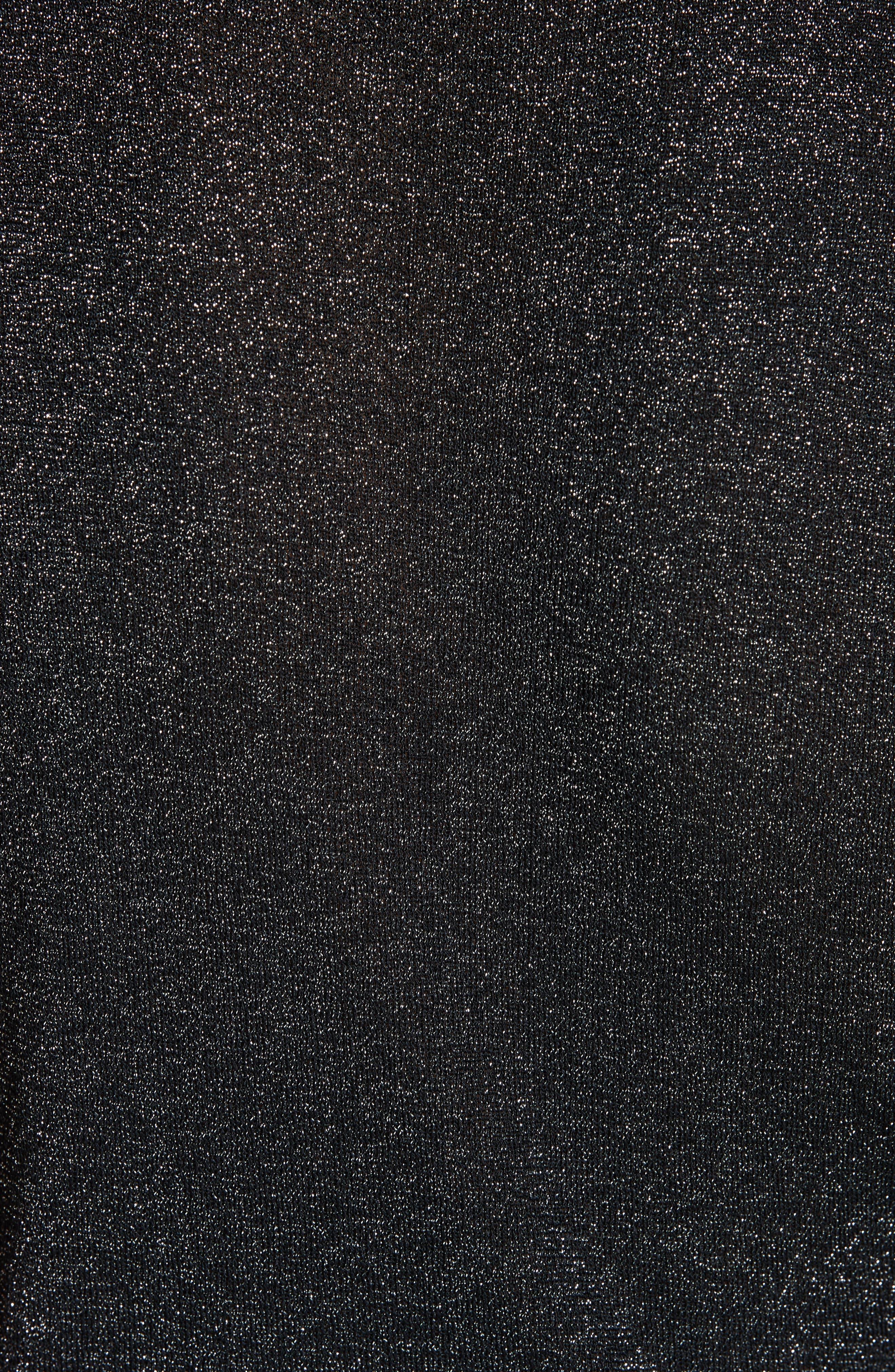 Cameron Metallic Mock Neck Sweater,                             Alternate thumbnail 5, color,                             BLACK