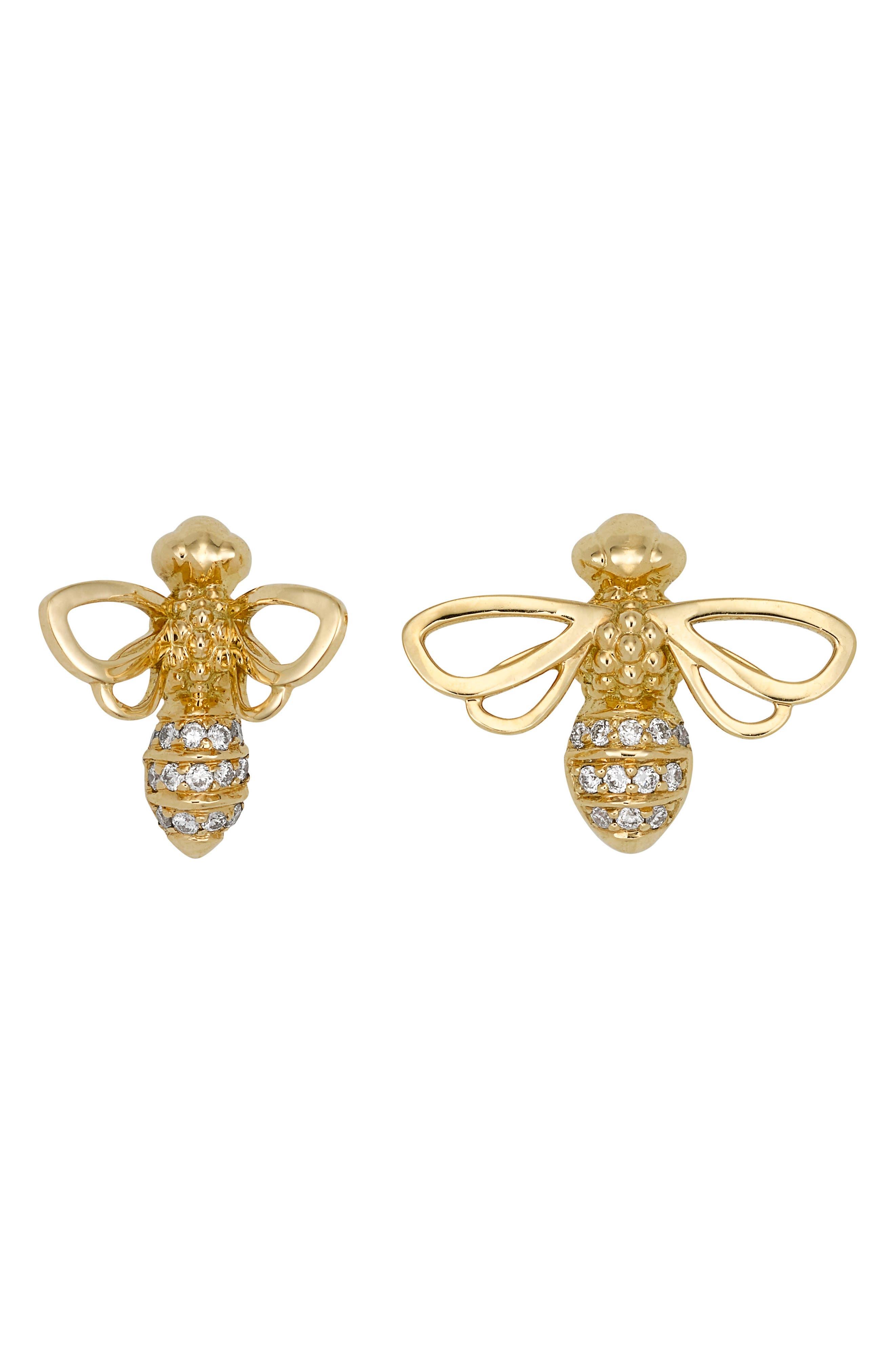18K Gold & Diamond Bee Stud Earrings,                             Main thumbnail 1, color,                             YELLOW GOLD