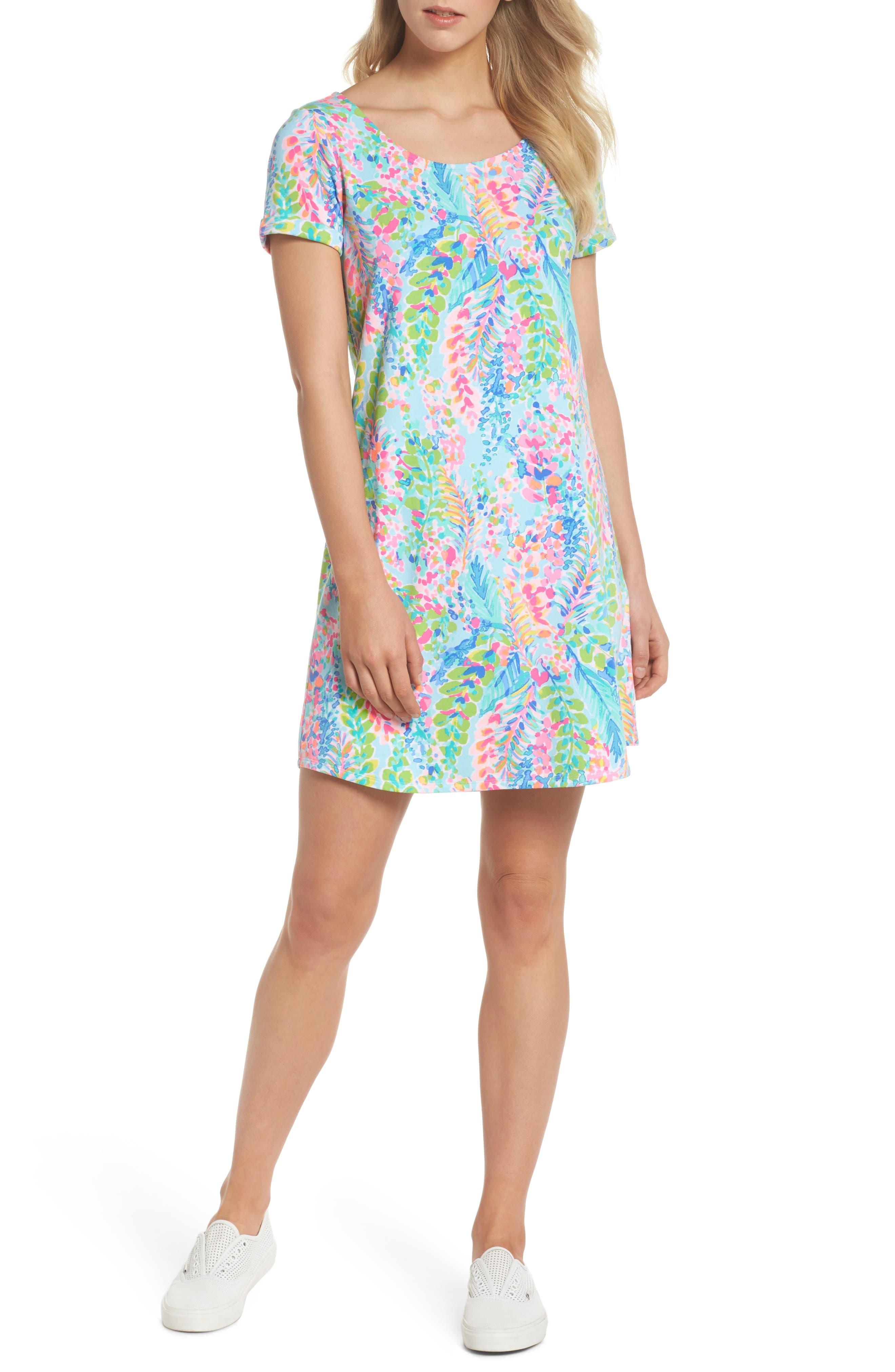 Tammy UPF 50+ Print Shift Dress,                             Alternate thumbnail 5, color,                             400
