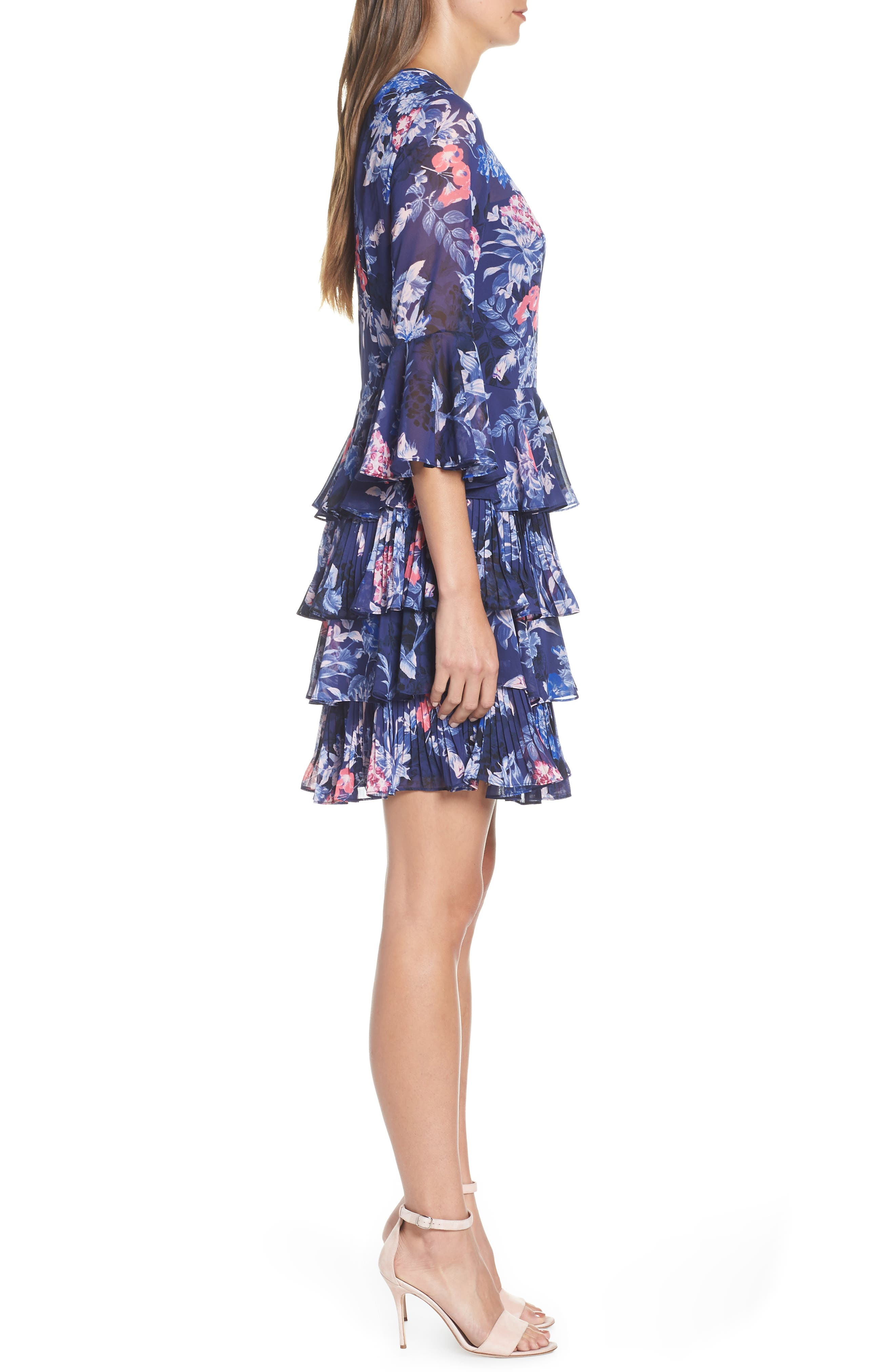 Bell Sleeve Tiered Minidress,                             Alternate thumbnail 3, color,                             NAVY