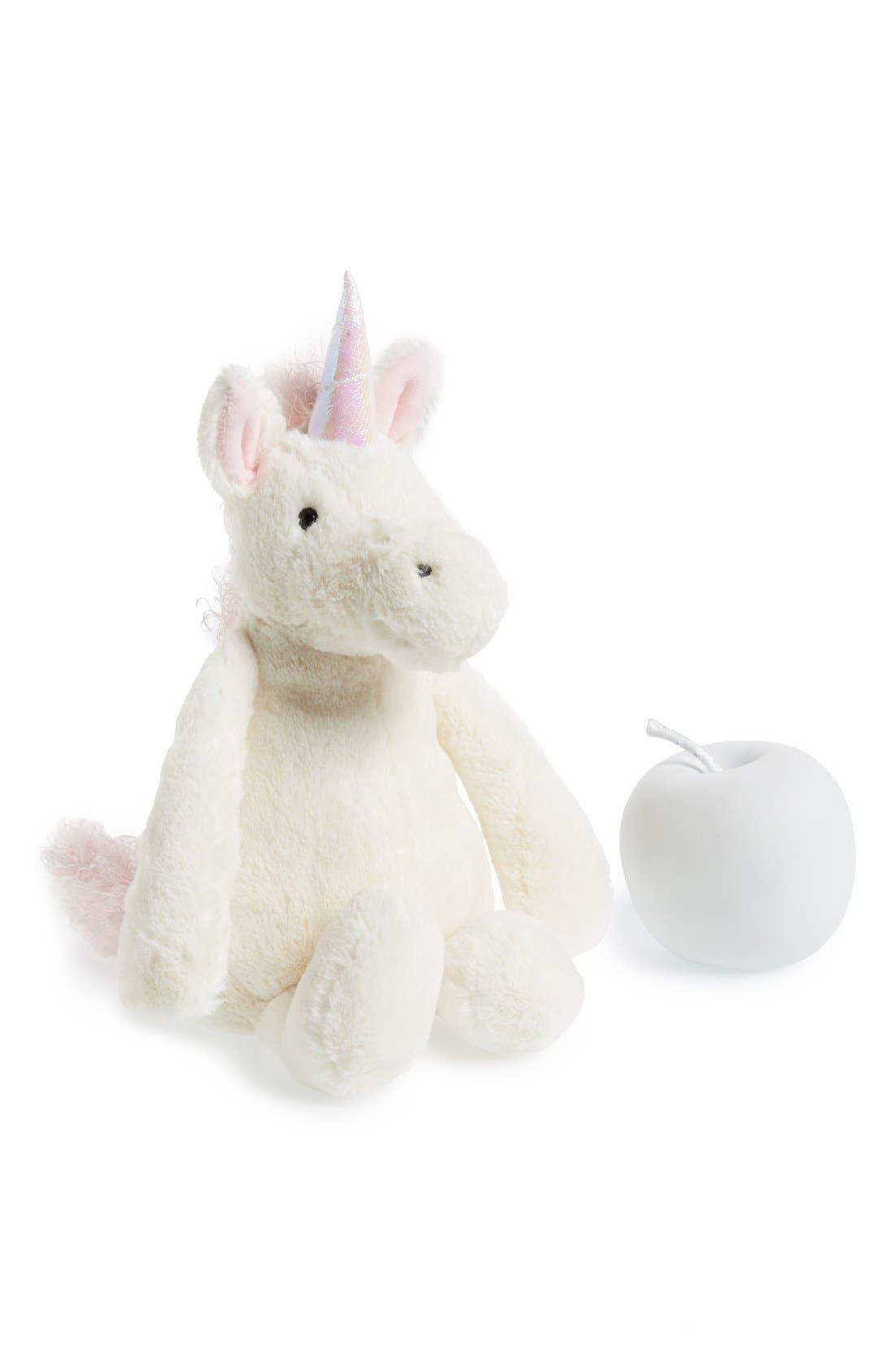 JELLYCAT,                             'Bashful Unicorn' Stuffed Animal,                             Main thumbnail 1, color,                             WHITE
