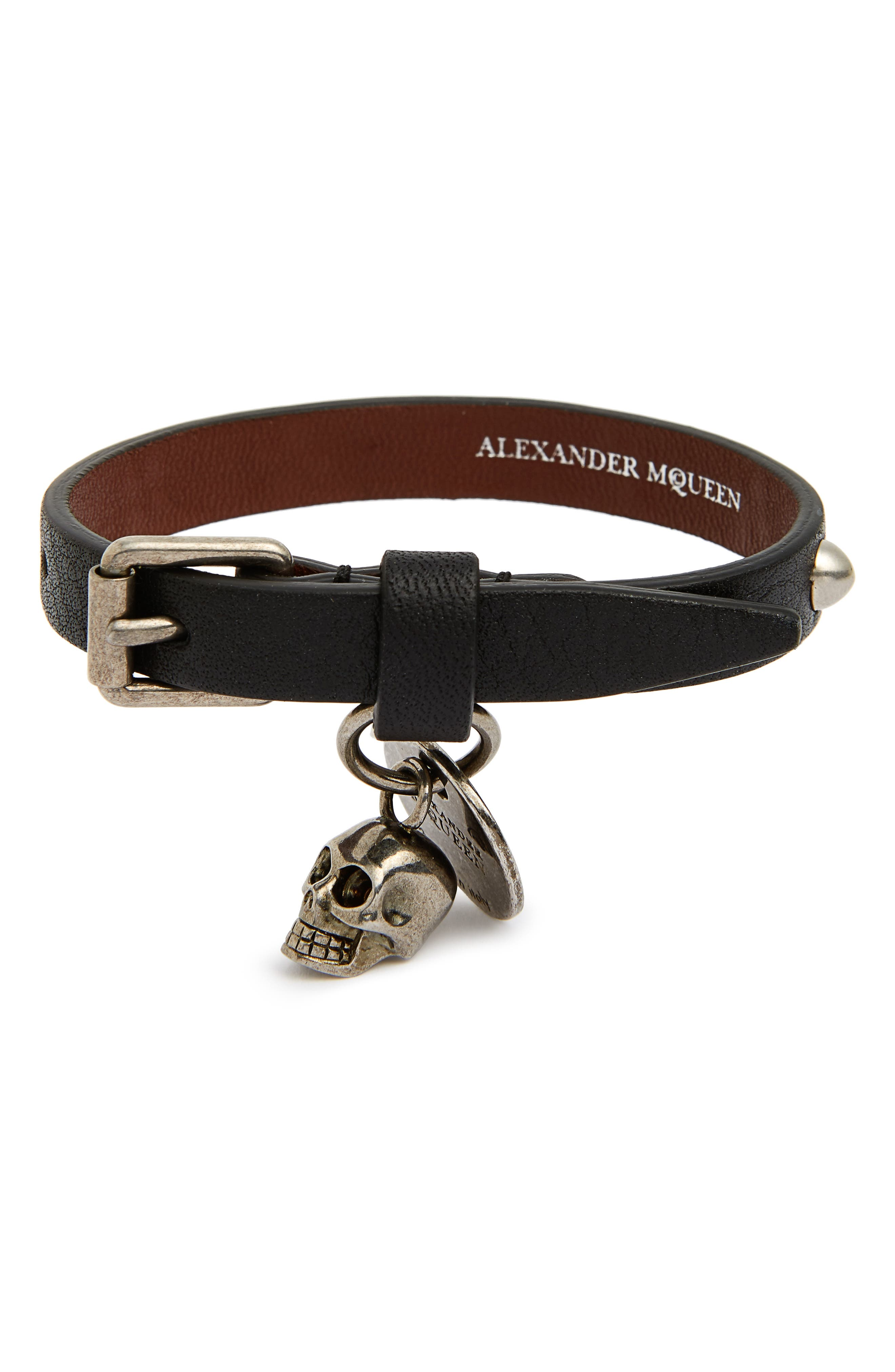 Studded Leather Bracelet,                             Main thumbnail 1, color,
