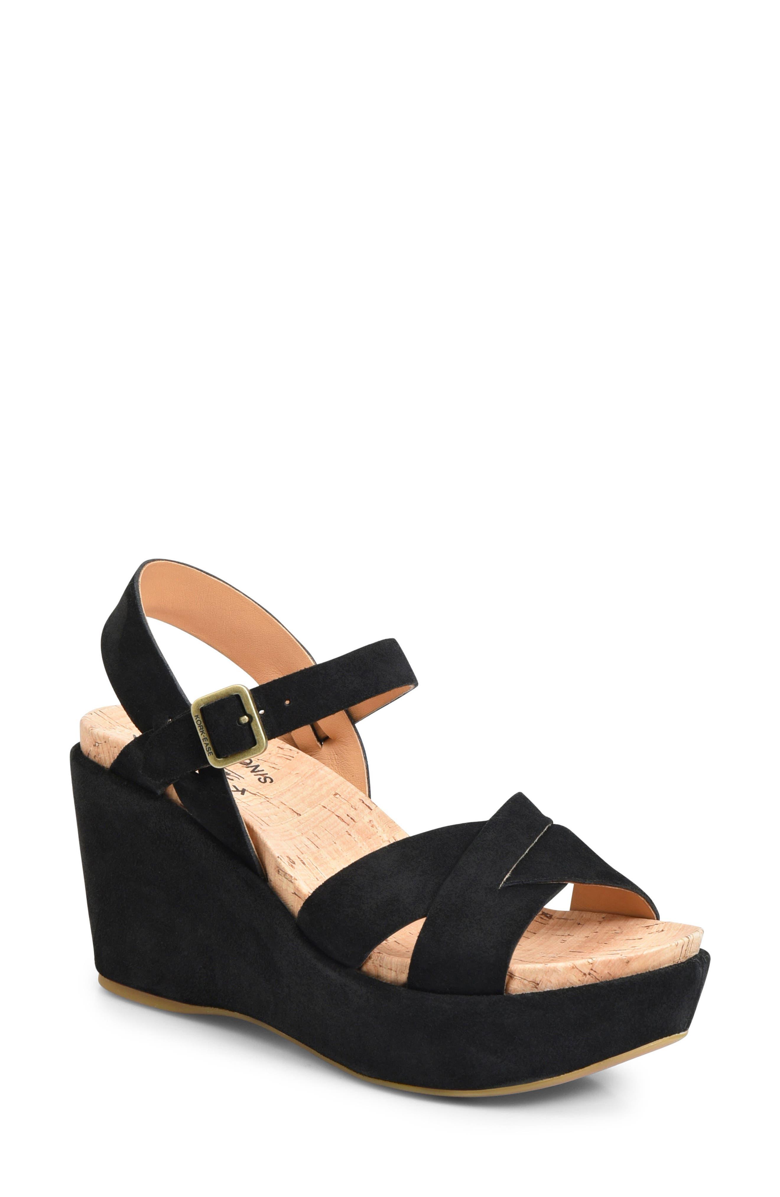 'Ava 2.0' Platform Wedge Sandal,                         Main,                         color, BLACK SUEDE 2