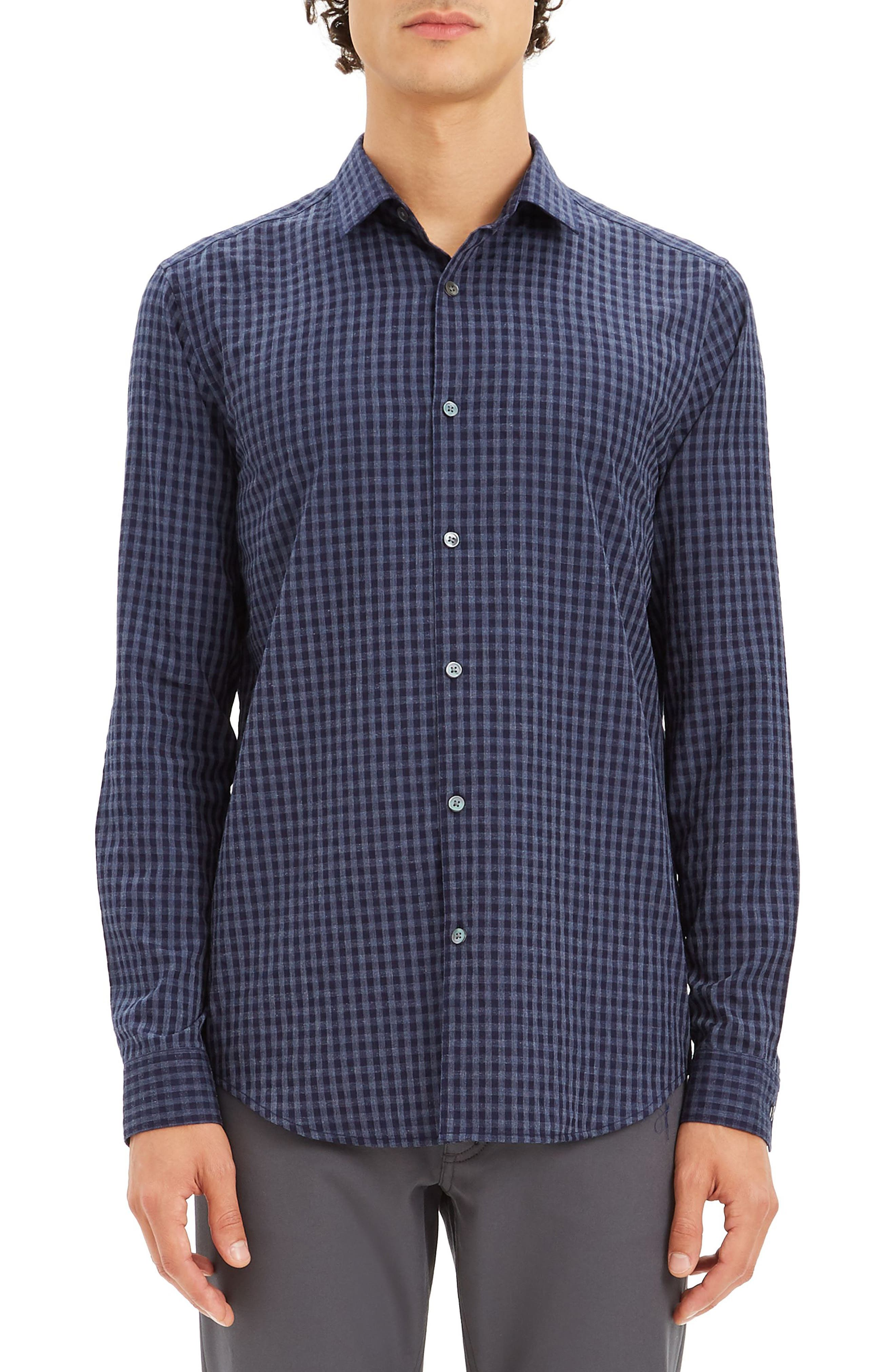Men's Theory Murrary Regular Fit Gingham Flannel Sport Shirt, Size Small - Blue