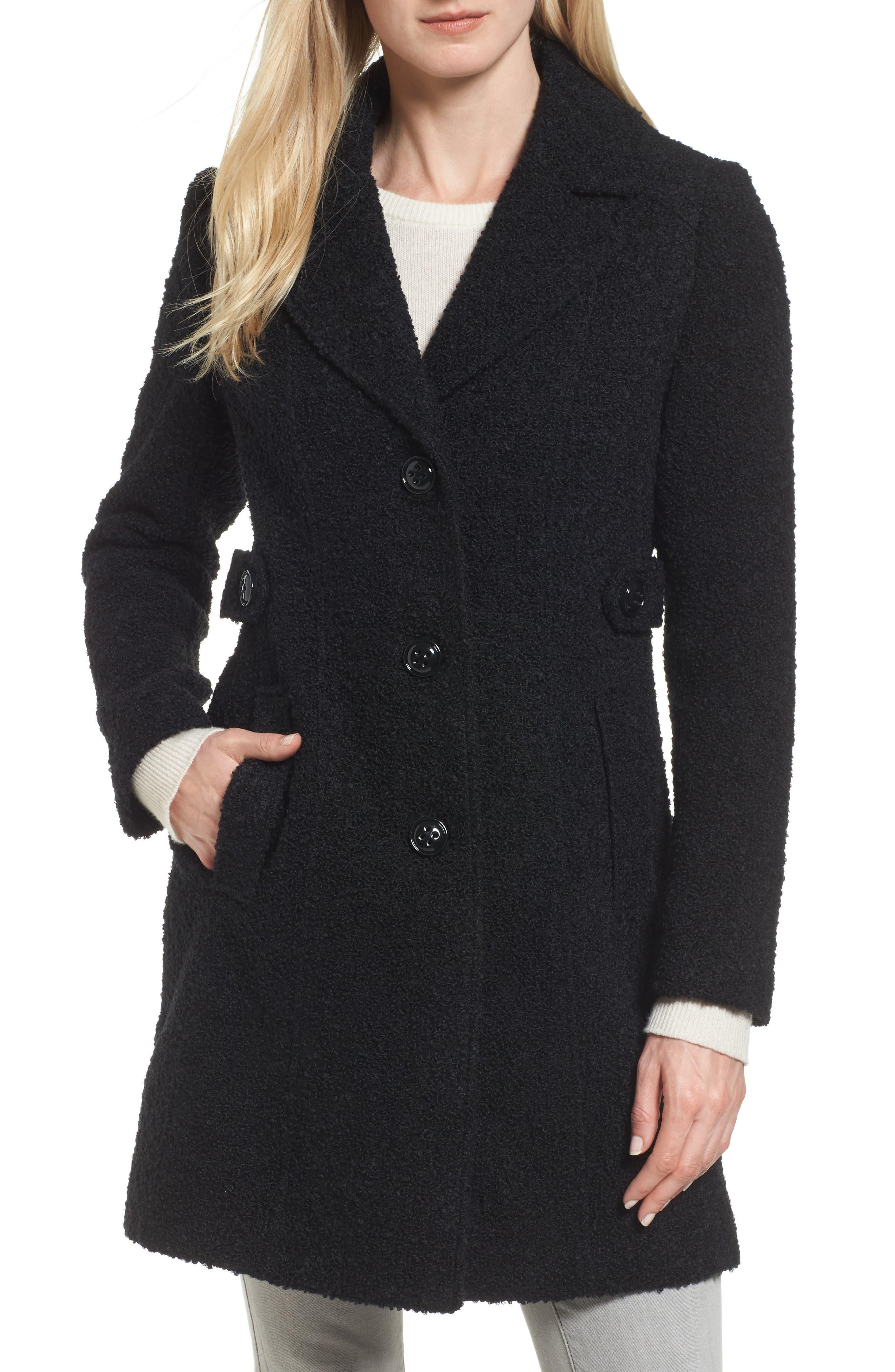 Bouclé Coat,                             Main thumbnail 1, color,                             BLACK