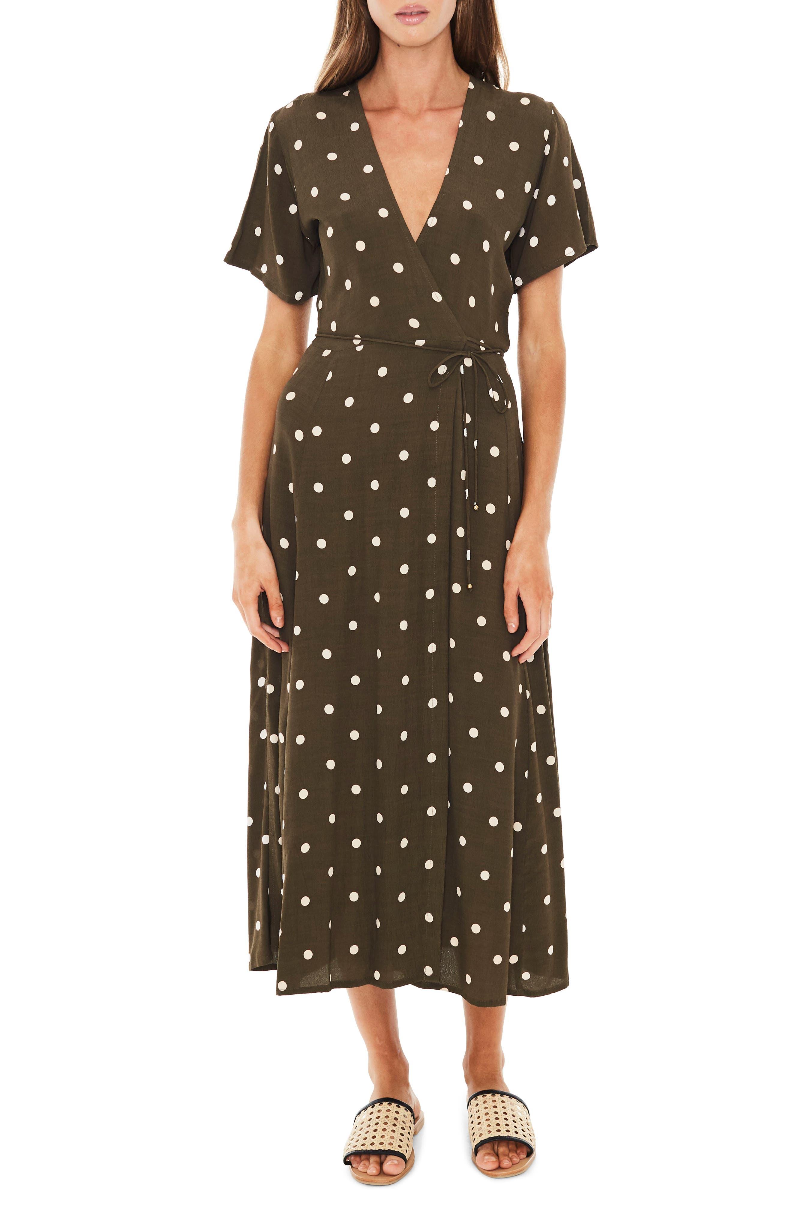 Leila Polka Dot Wrap Dress,                             Main thumbnail 1, color,