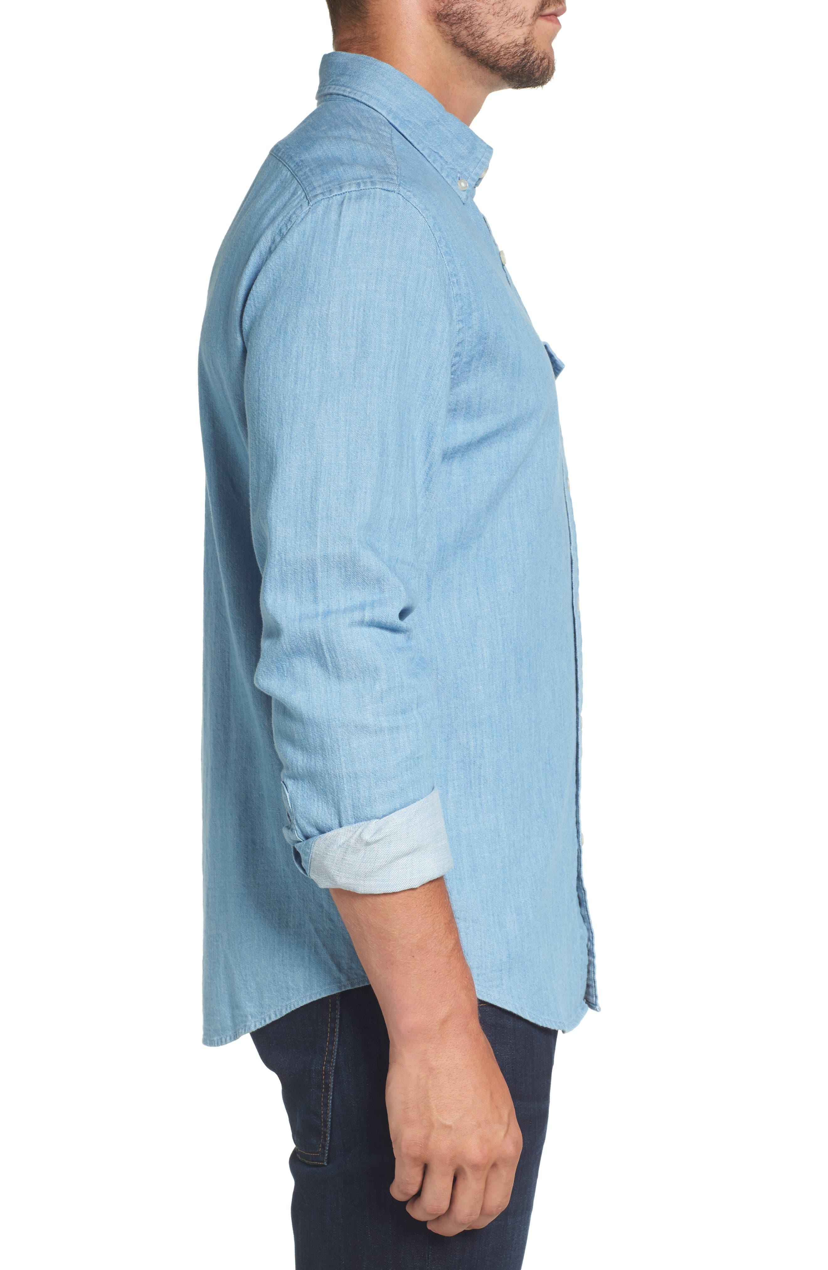 Lightkeeper Slim Fit Chambray Sport Shirt,                             Alternate thumbnail 3, color,                             429