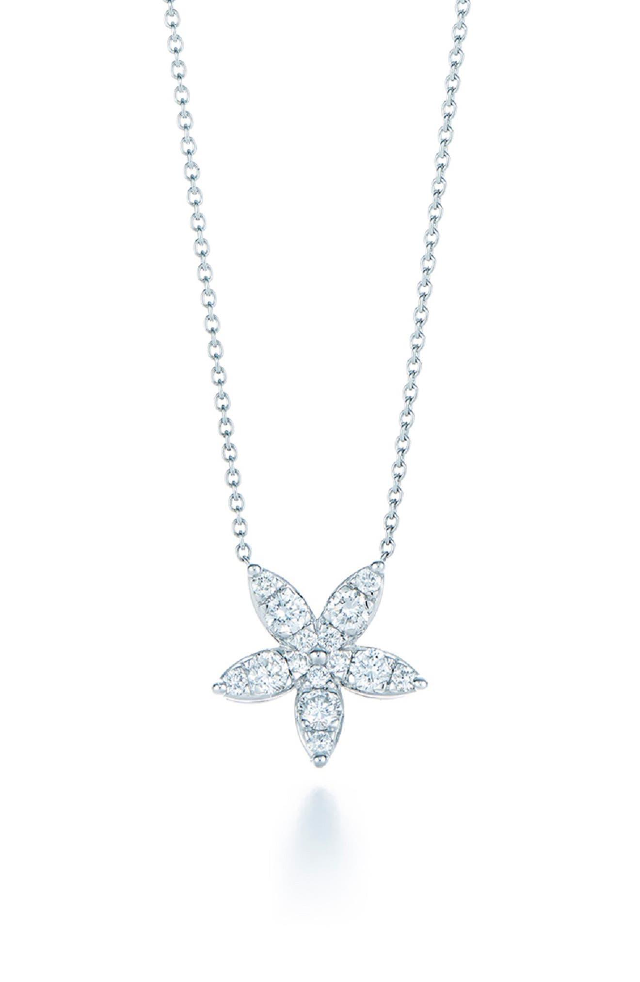 KWIAT Sunburst Flower Diamond Pendant Necklace in White Gold