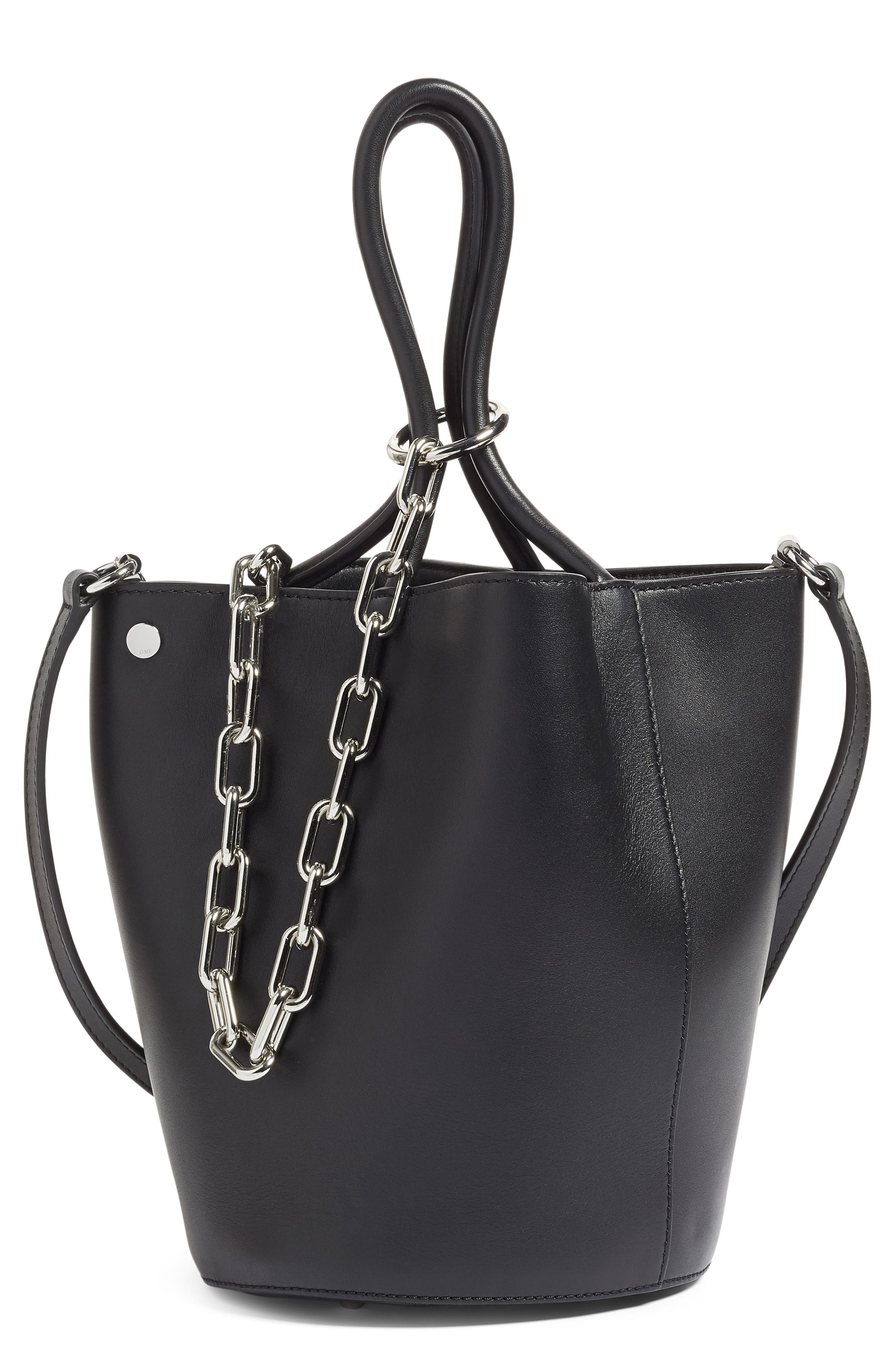 Roxy Leather Bucket Bag,                         Main,                         color,