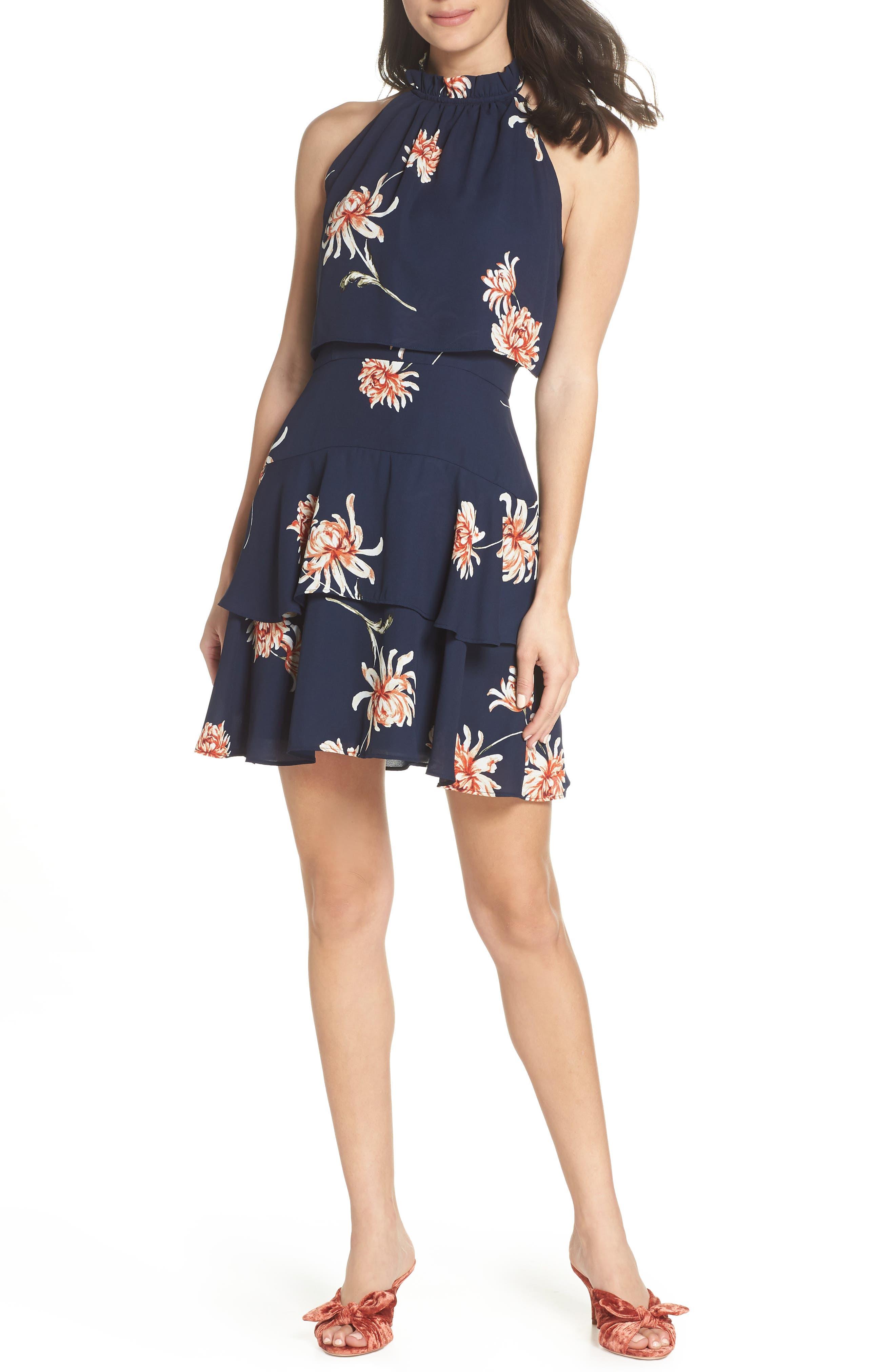 Bb Dakota Garden Variety Halter Neck Dress, Blue