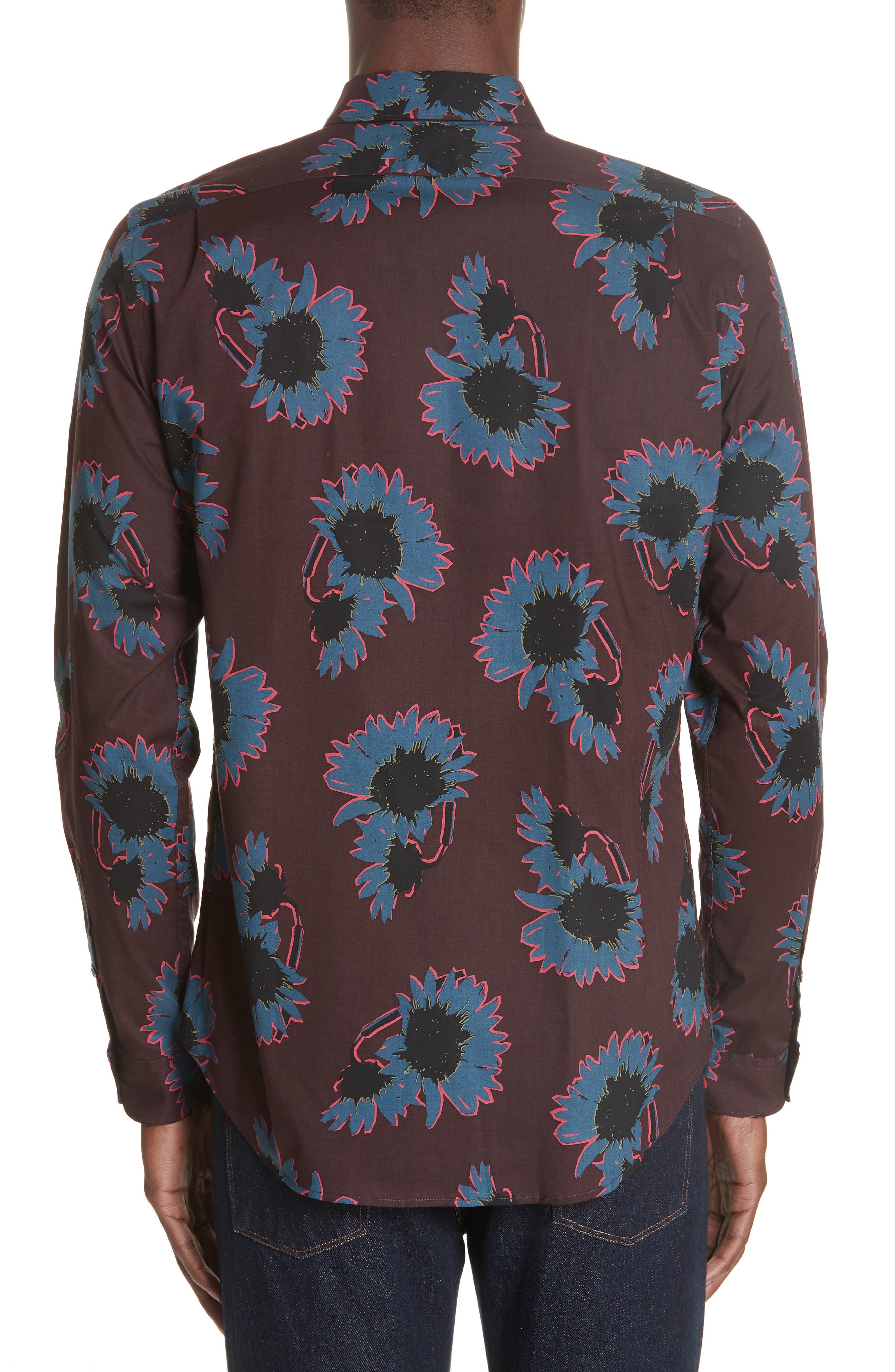 Flower Print Woven Shirt,                             Alternate thumbnail 3, color,                             BLUE
