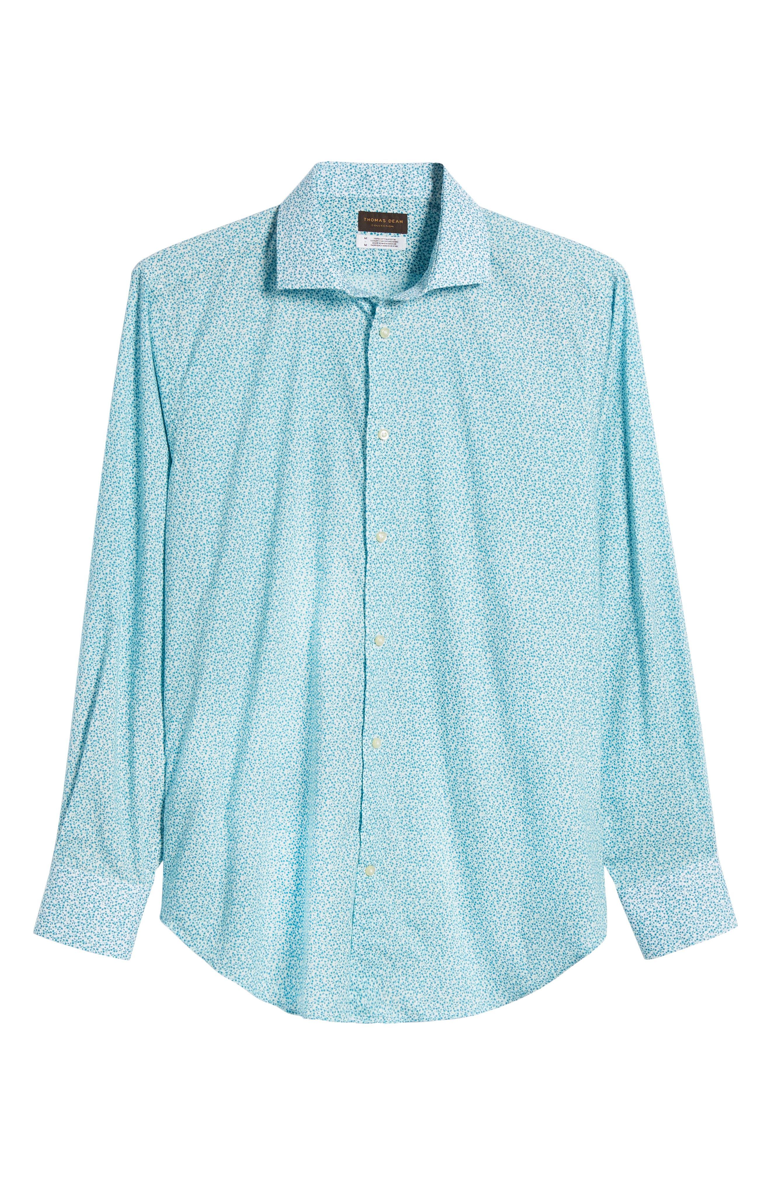THOMAS DEAN,                             Regular Fit Floral Print Sport Shirt,                             Alternate thumbnail 6, color,                             300