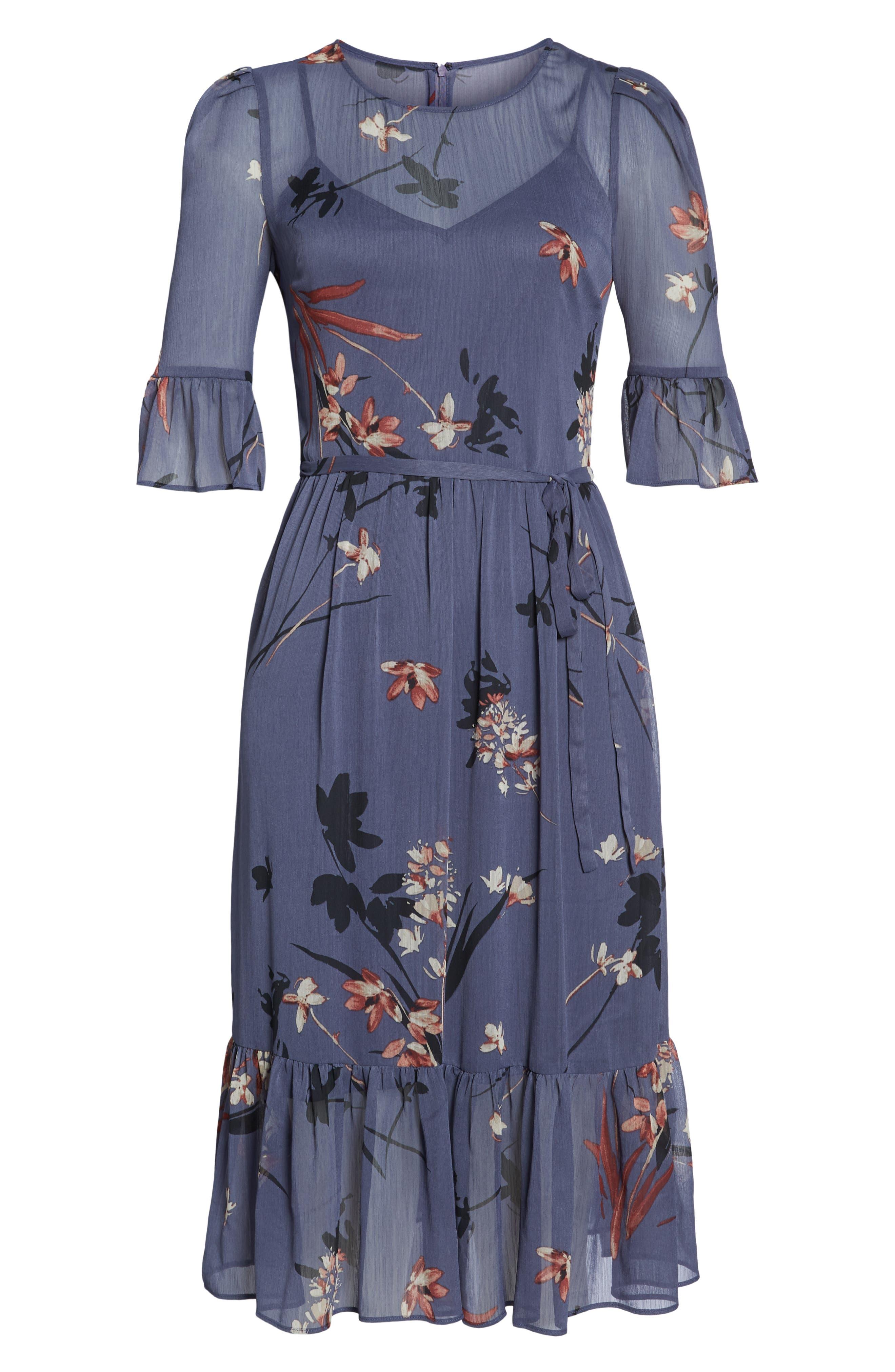 Floral Chiffon Midi Dress,                             Alternate thumbnail 8, color,                             BLUE MULTI