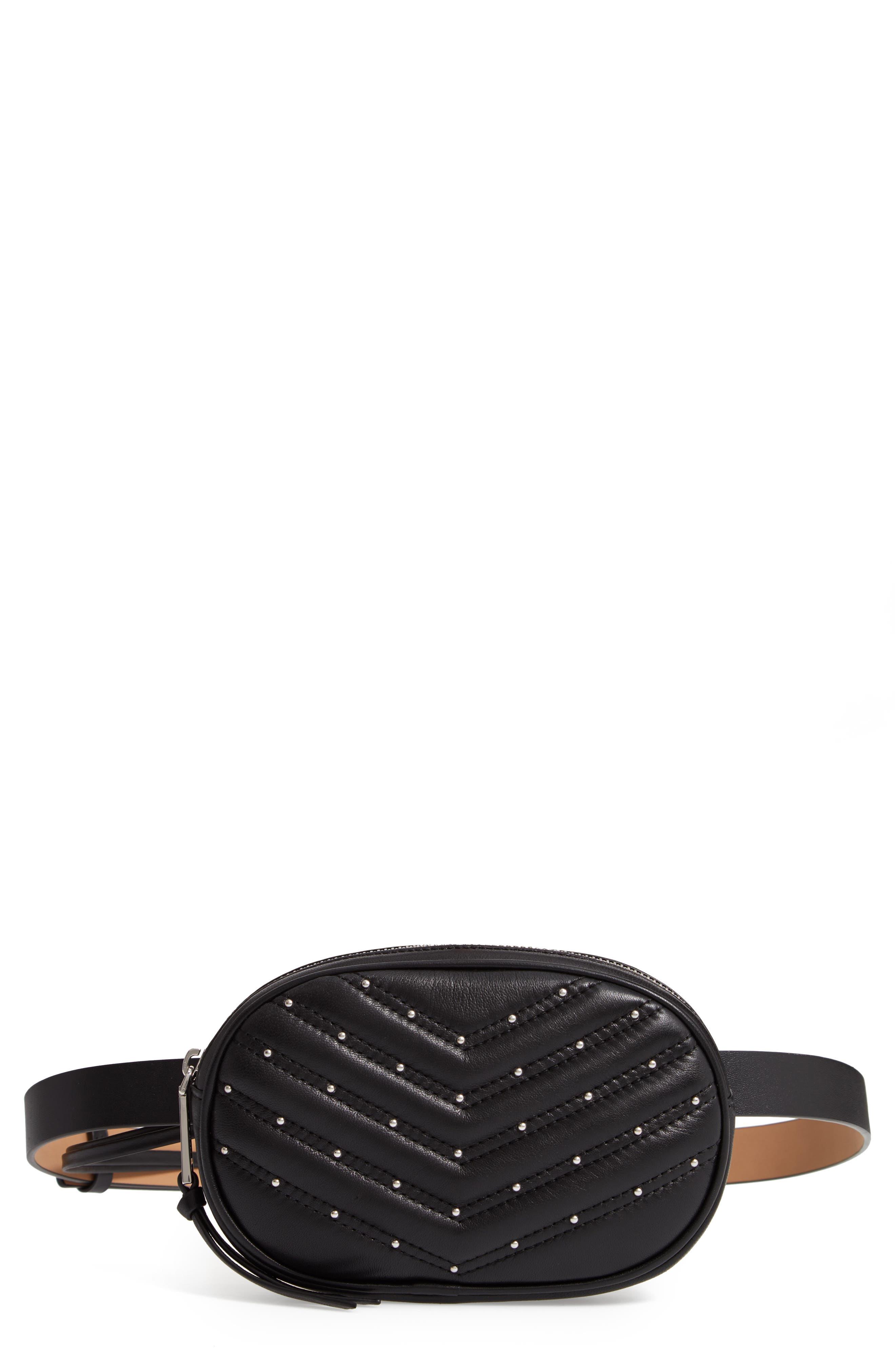 Montse Quilted Leather Belt Beg, Main, color, BLACK