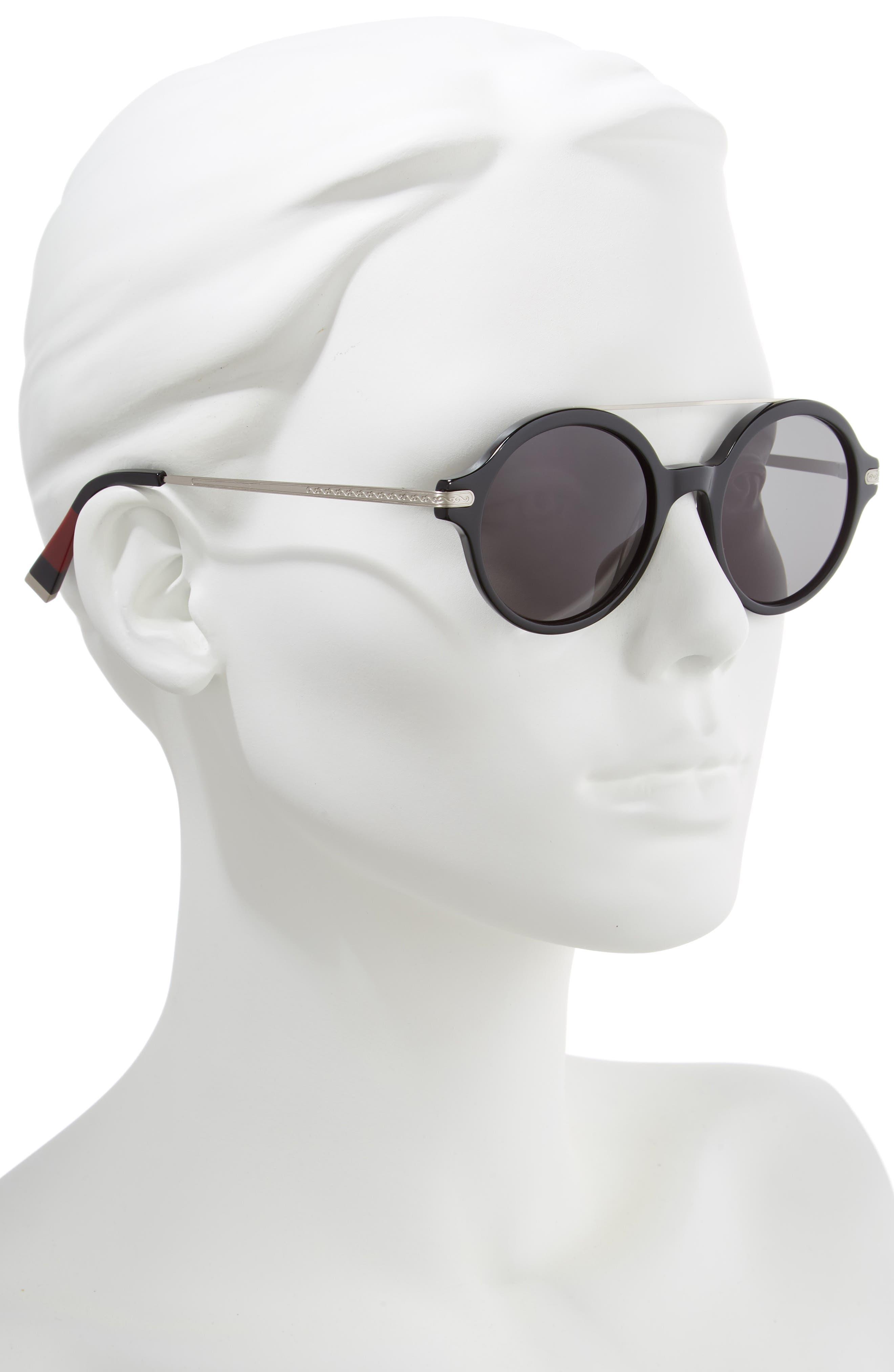 49mm Round Sunglasses,                             Alternate thumbnail 2, color,                             BLACK