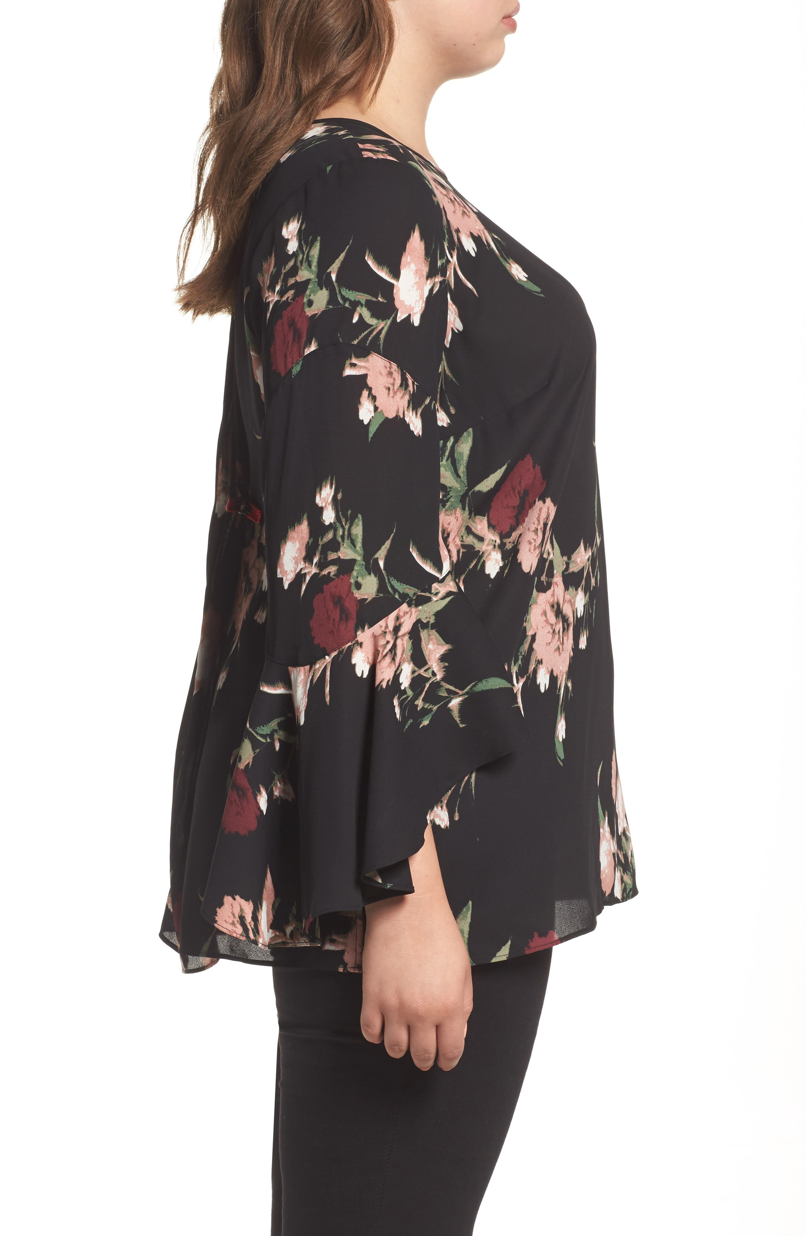 Windswept Bouquet Bell Sleeve Blouse,                             Alternate thumbnail 3, color,                             001