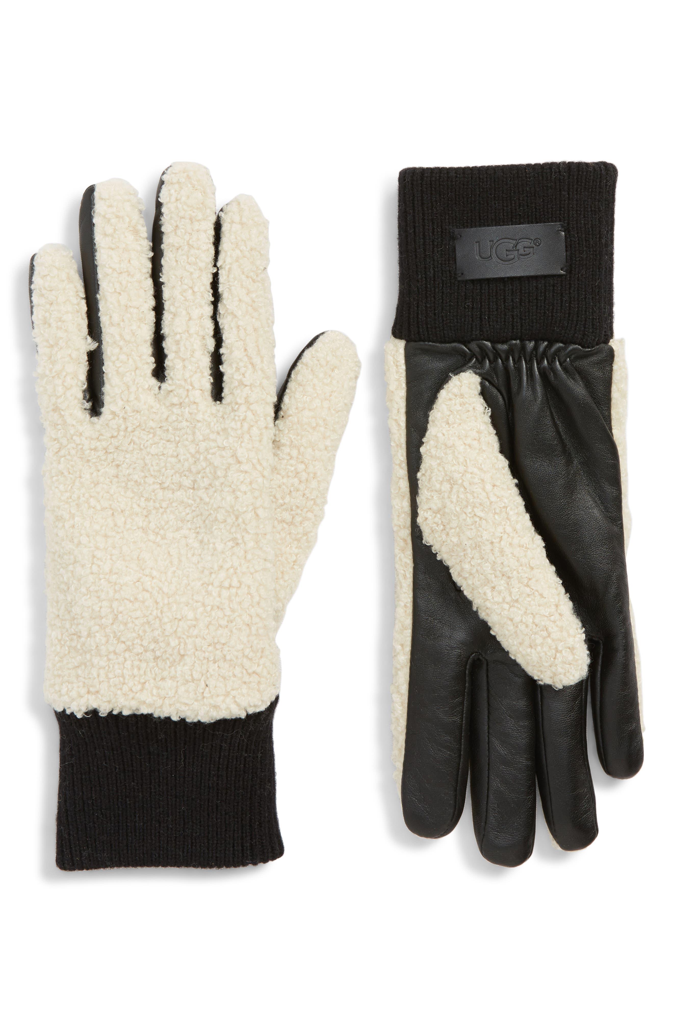 UGG<sup>®</sup> Faux Shearling Touchscreen Compatible Gloves,                             Main thumbnail 1, color,                             NATURAL