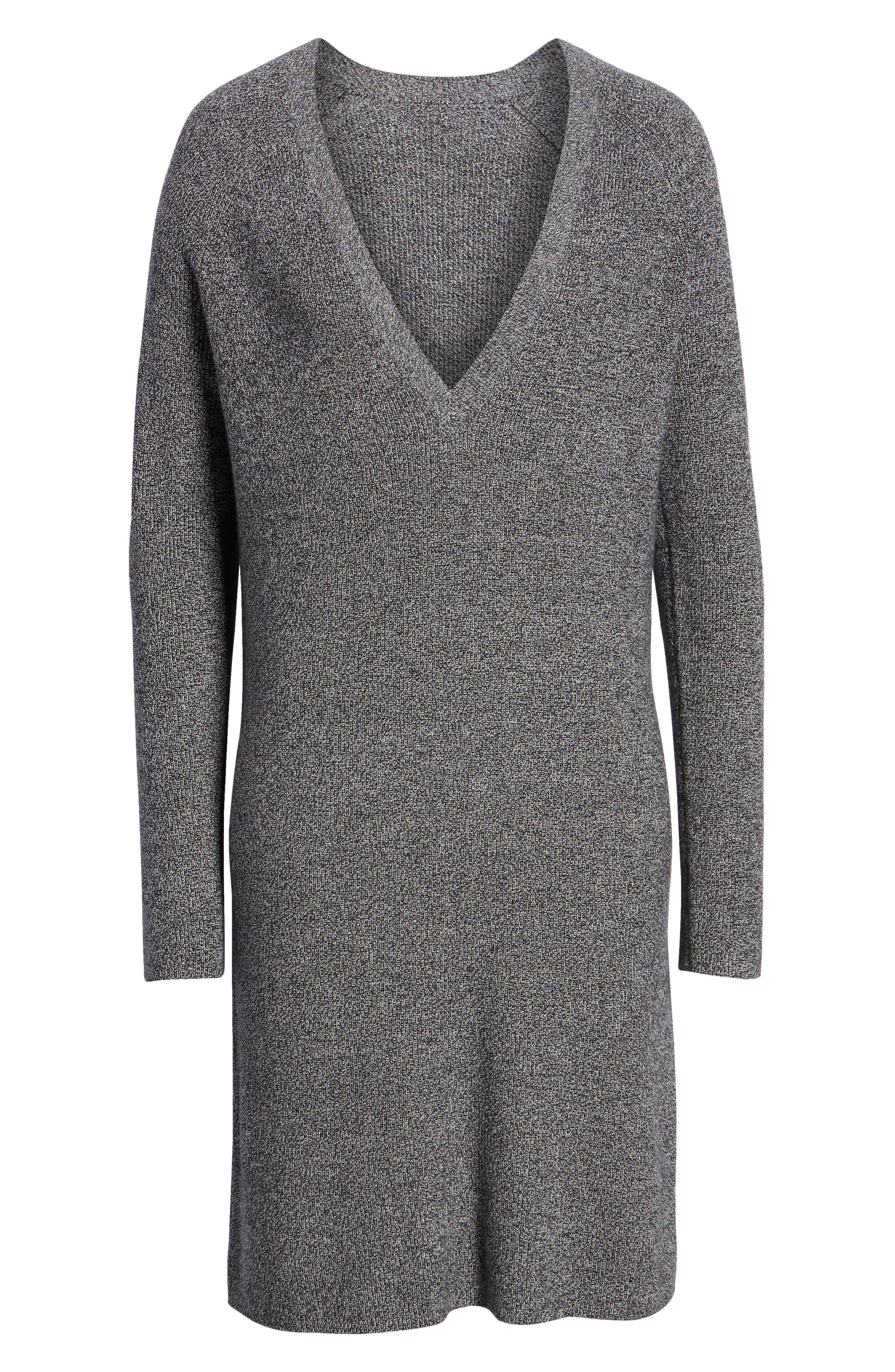 V-Neck Sweater Dress,                             Alternate thumbnail 7, color,                             BLACK- WHITE MARL