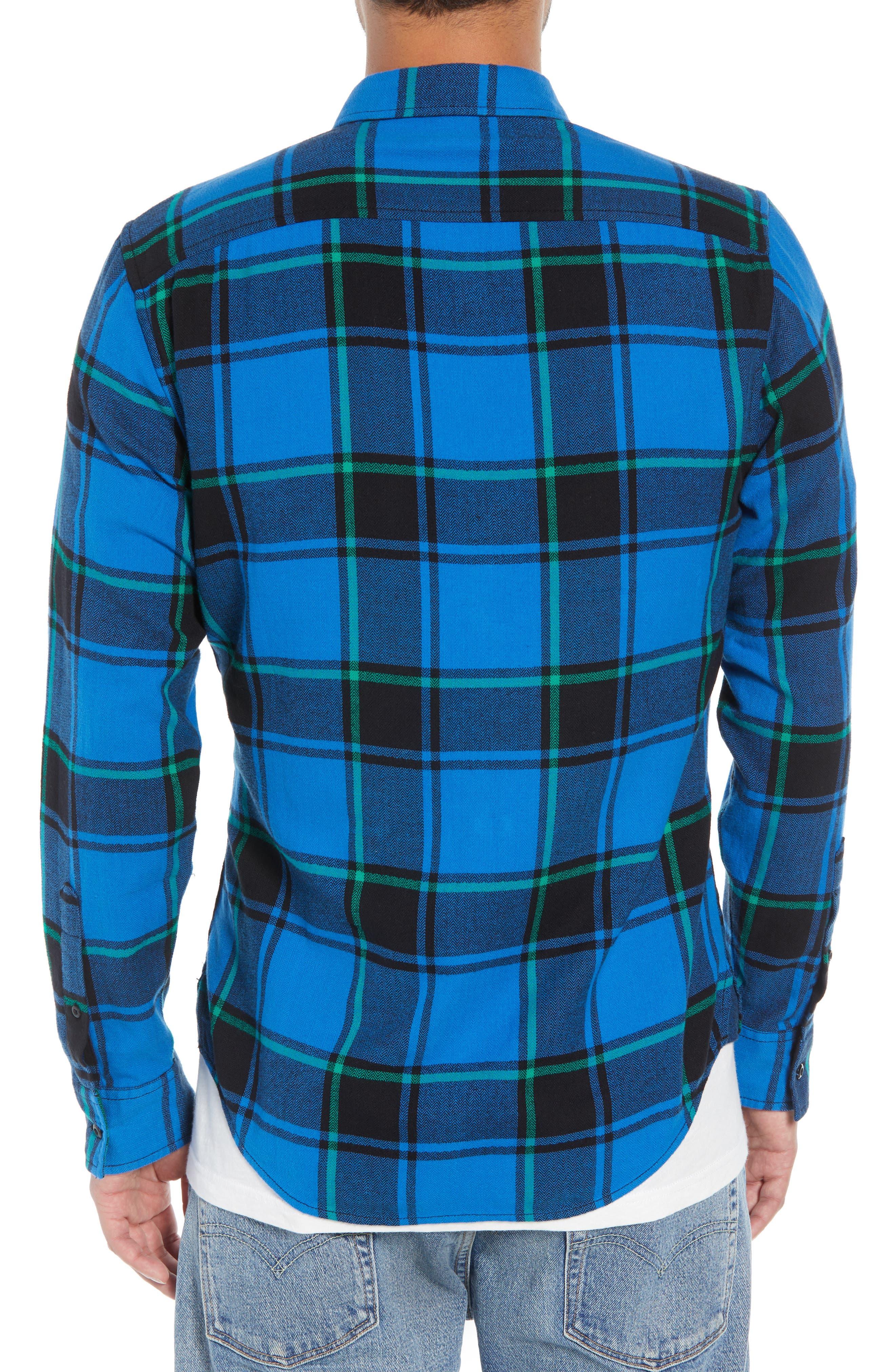 Plaid Flannel Shirt,                             Alternate thumbnail 2, color,                             BLUE BLACK REESE PLAID