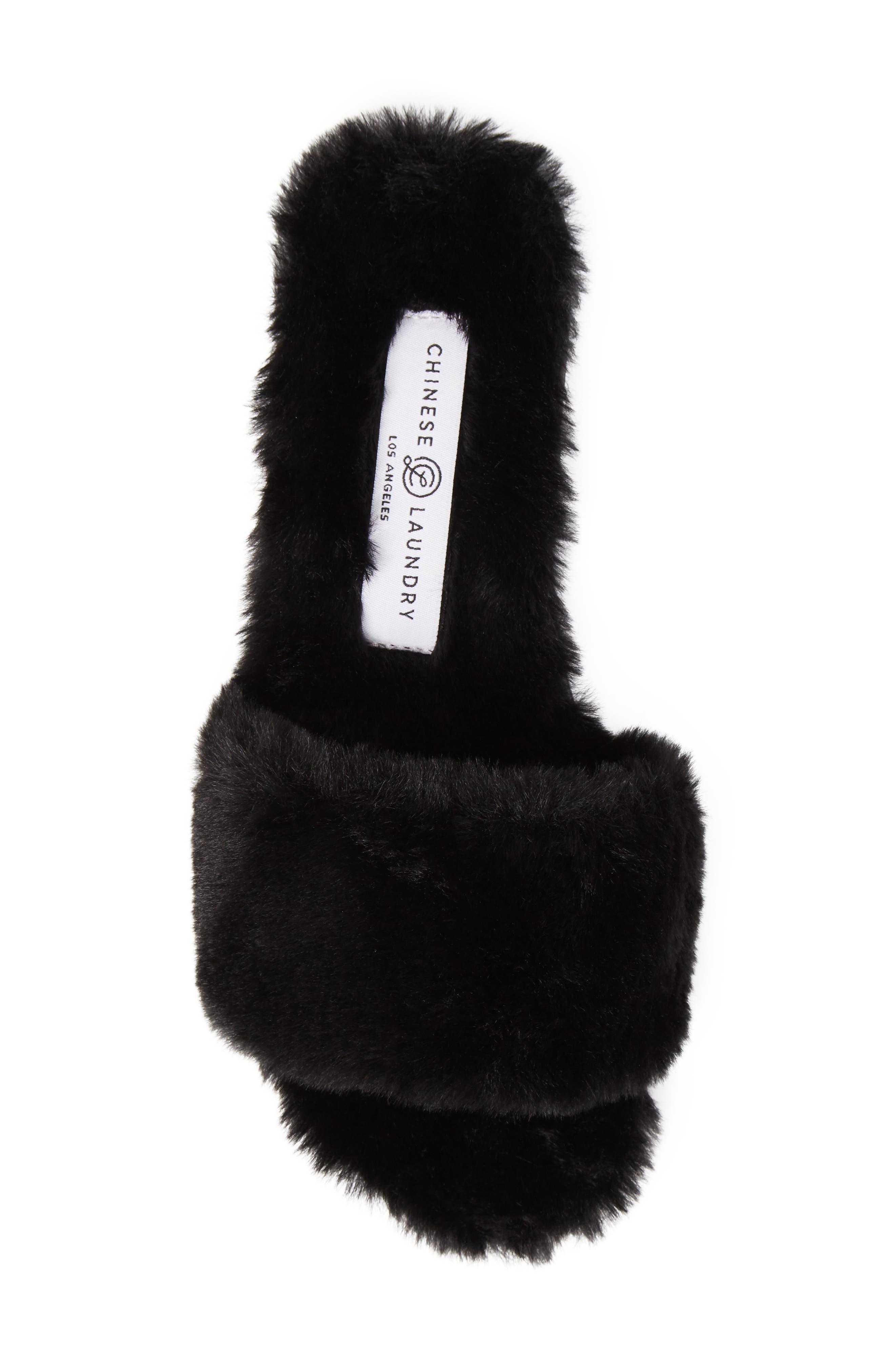 Mulholland Faux Fur Slide Sandal,                             Alternate thumbnail 5, color,                             001