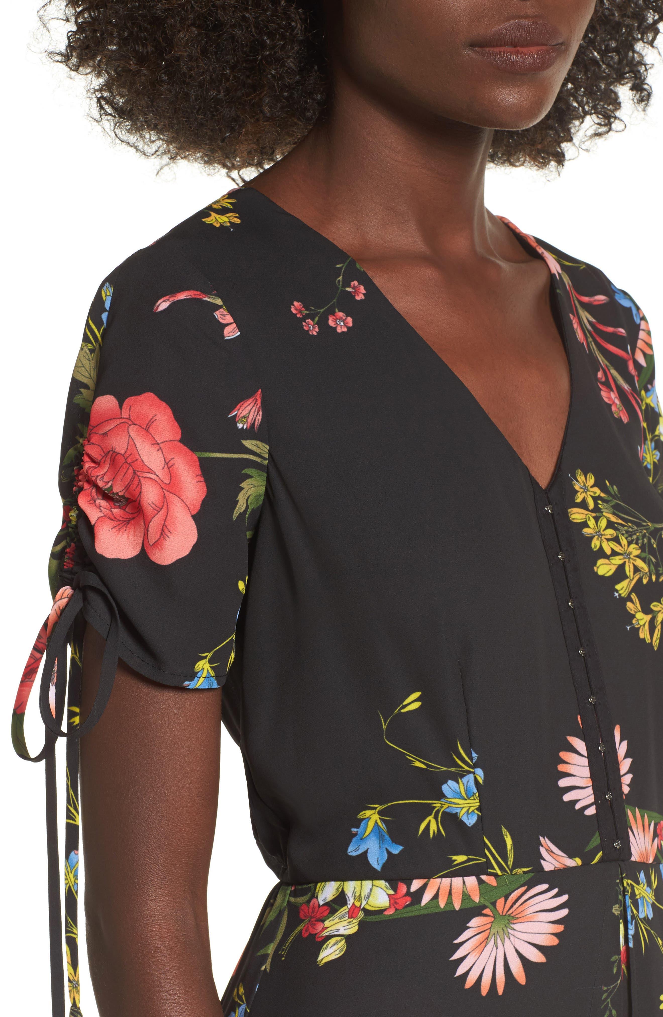 Floral Print Midi Romper,                             Alternate thumbnail 4, color,