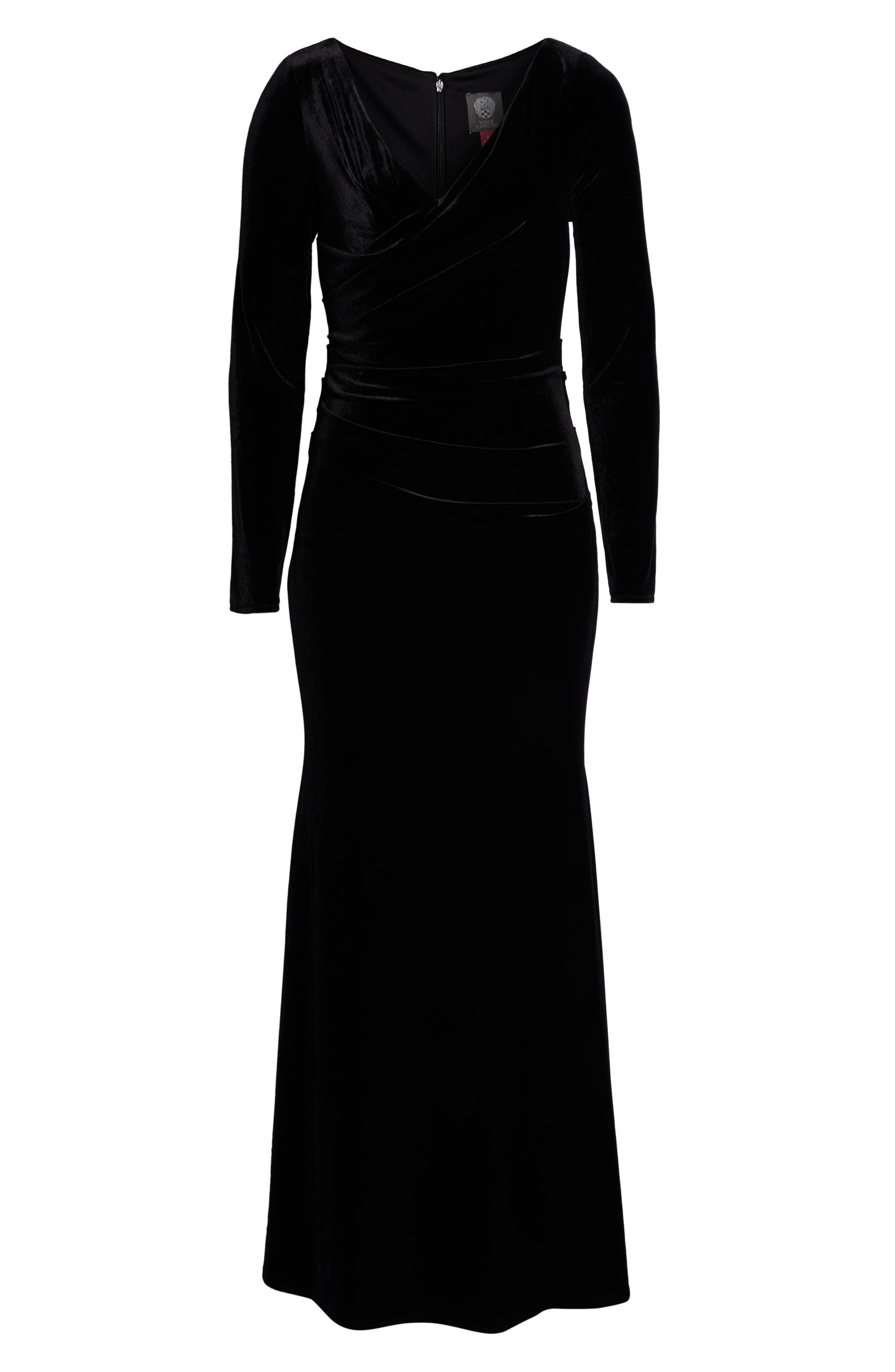 Velvet Gown,                             Alternate thumbnail 7, color,                             BLACK
