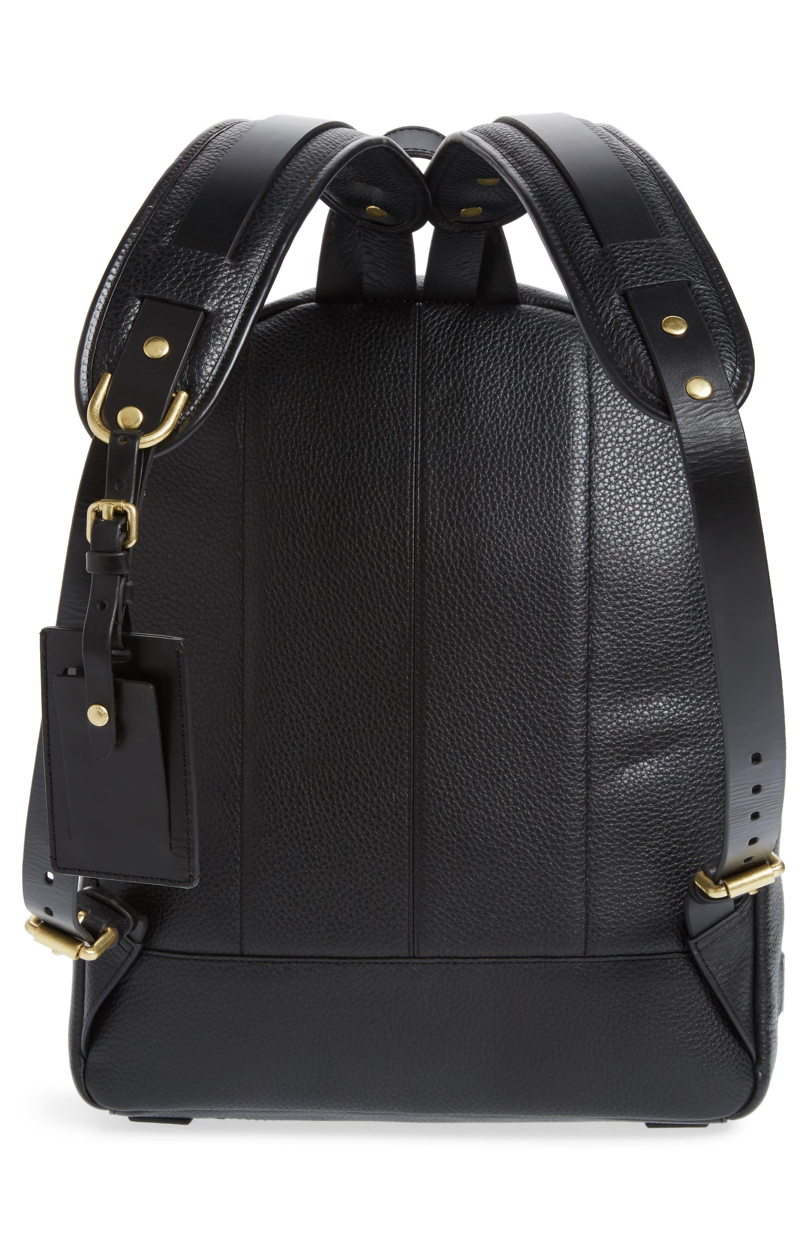 Brayton Leather Backpack,                             Alternate thumbnail 3, color,                             001