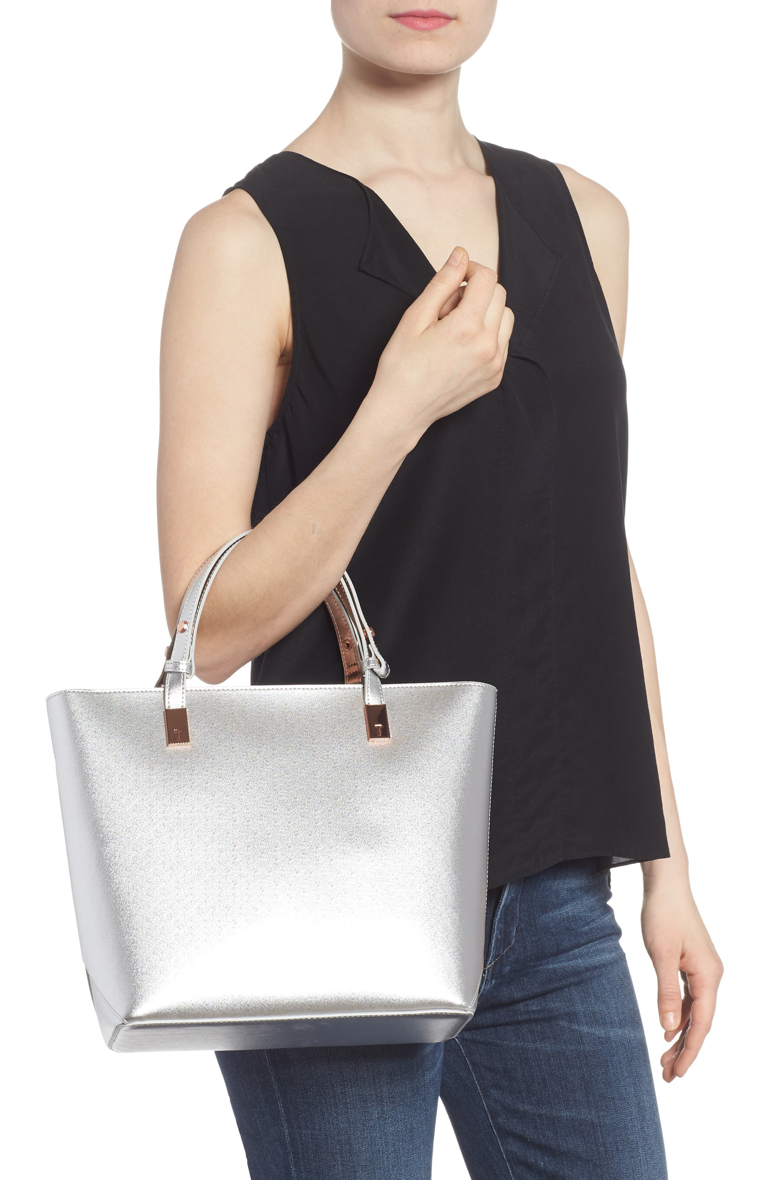 Adjustable Handle Leather Tote,                             Alternate thumbnail 2, color,                             SILVER