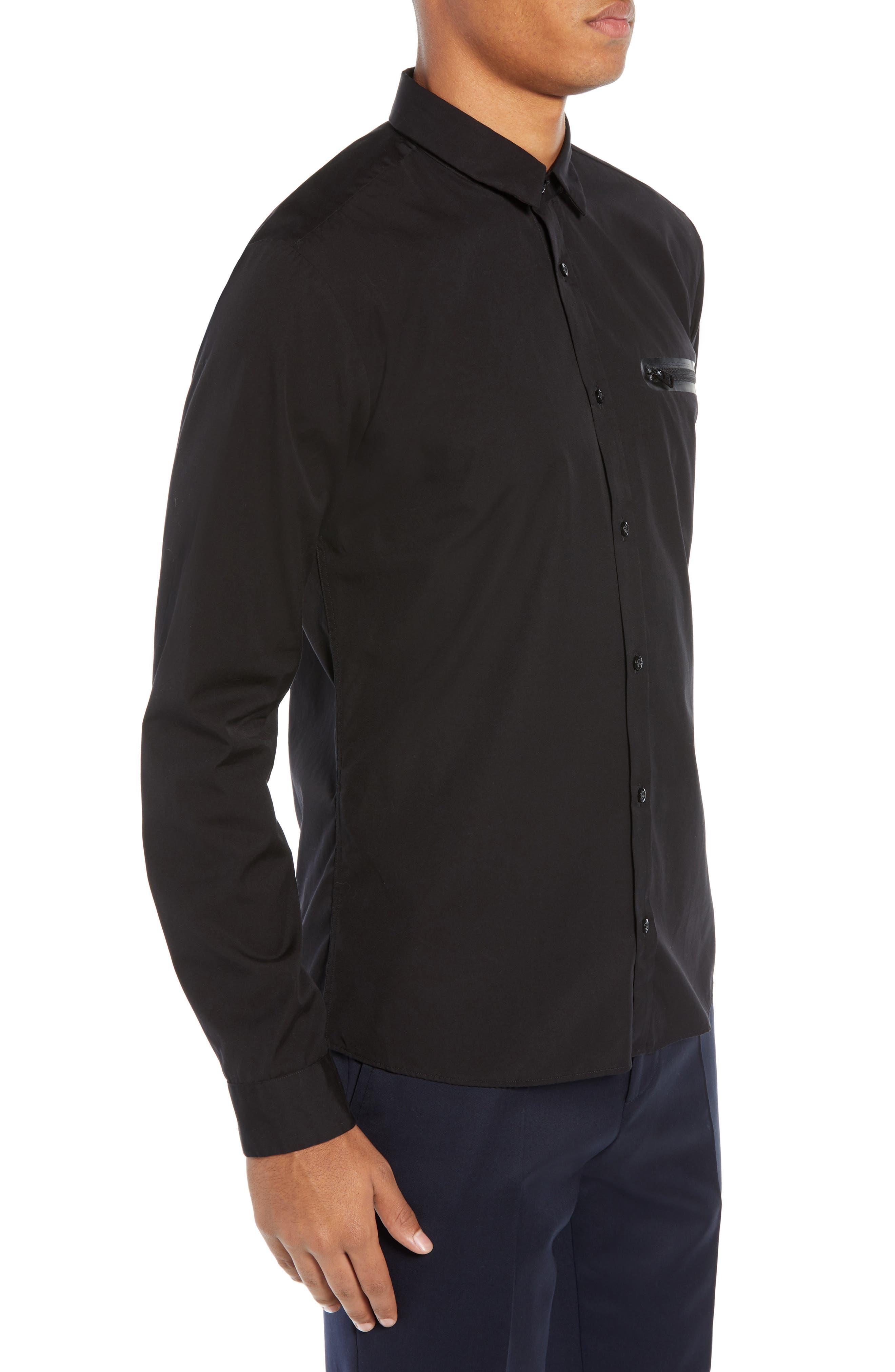 Ero Extra Slim Fit Zip Pocket Sport Shirt,                             Alternate thumbnail 4, color,                             BLACK