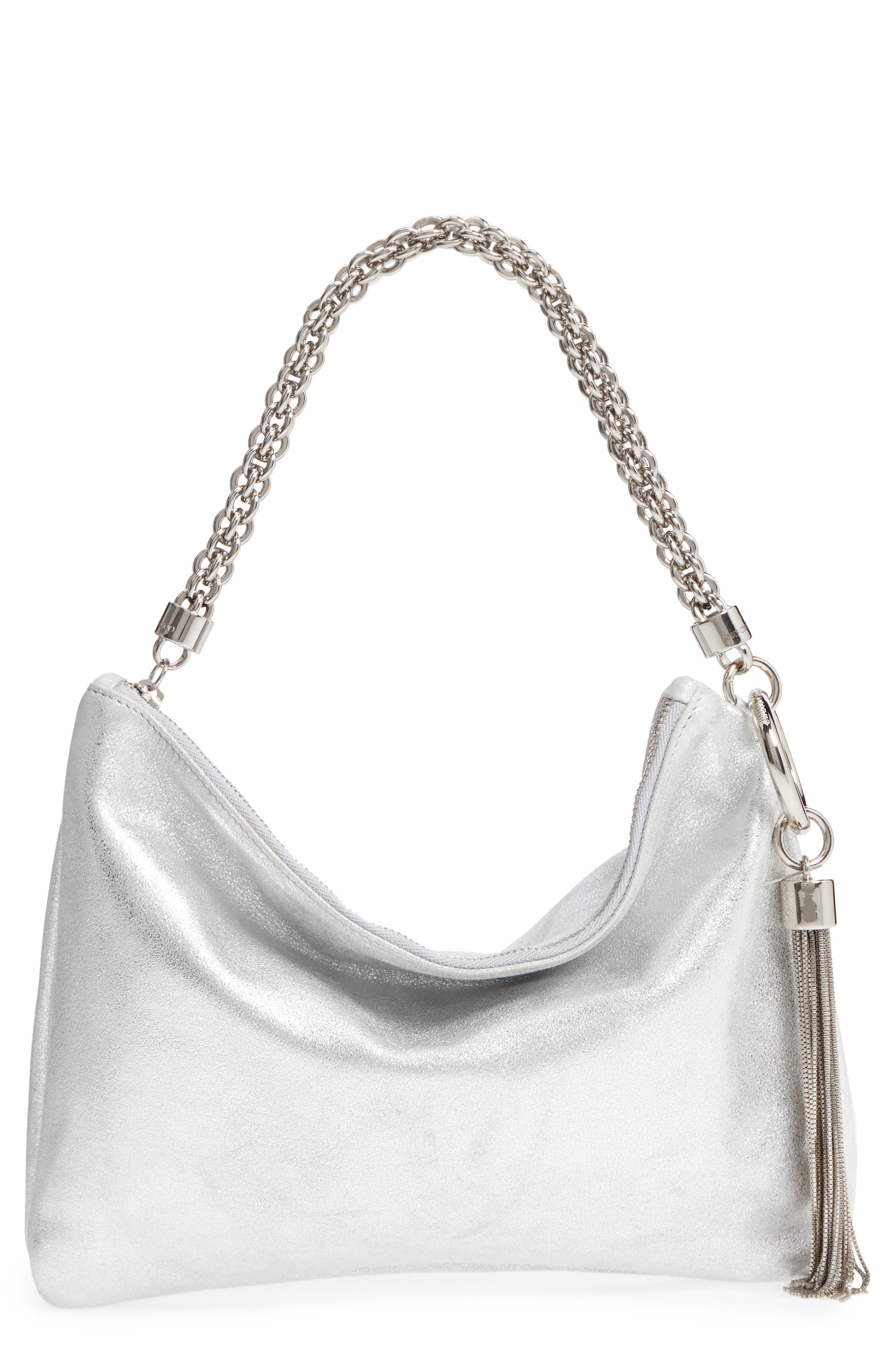 Callie Evening Metallic Leather Clutch,                             Main thumbnail 1, color,                             SILVER