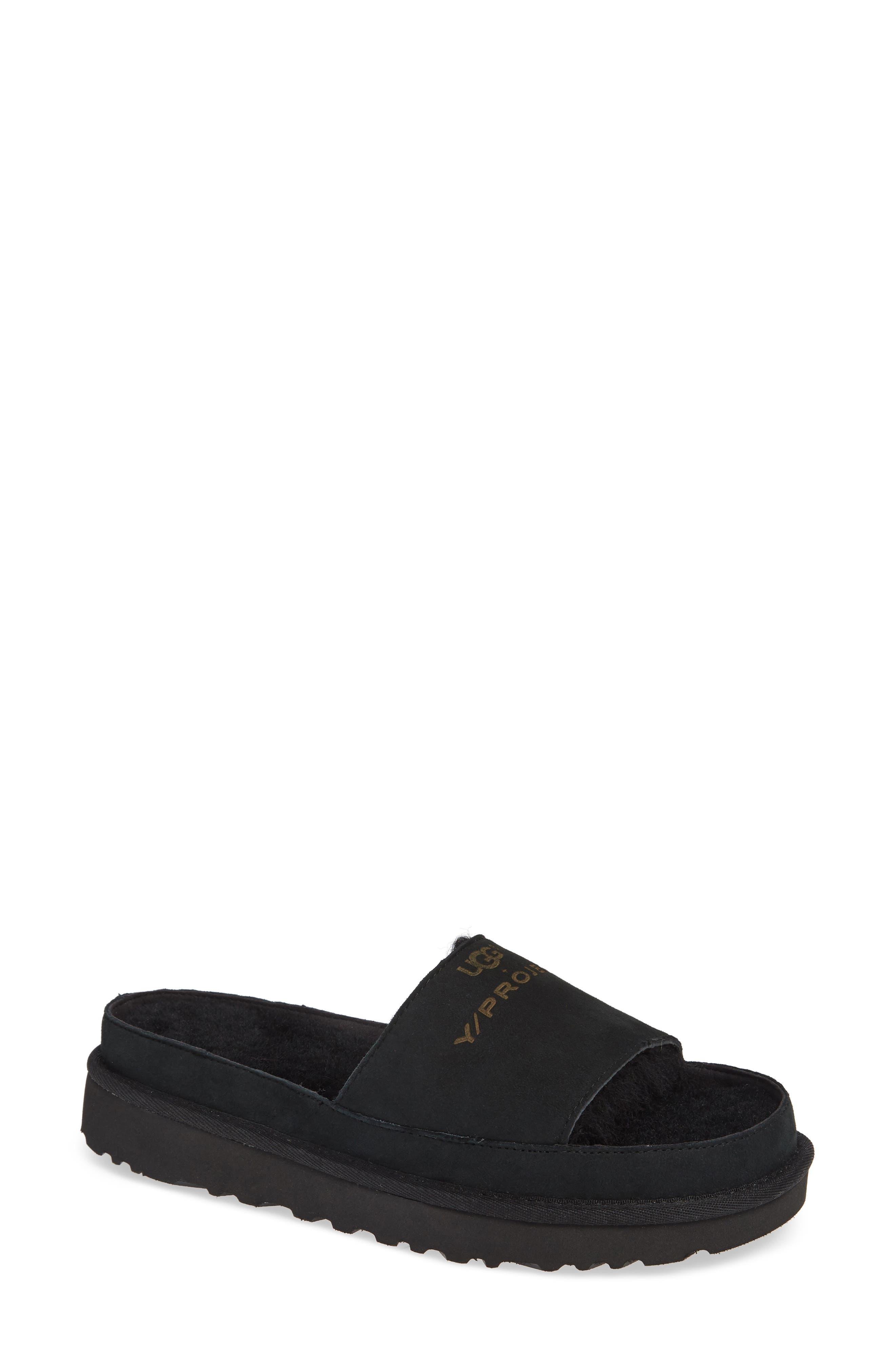 x UGG<sup>®</sup> Genuine Shearling Slide Sandal,                             Main thumbnail 1, color,                             001