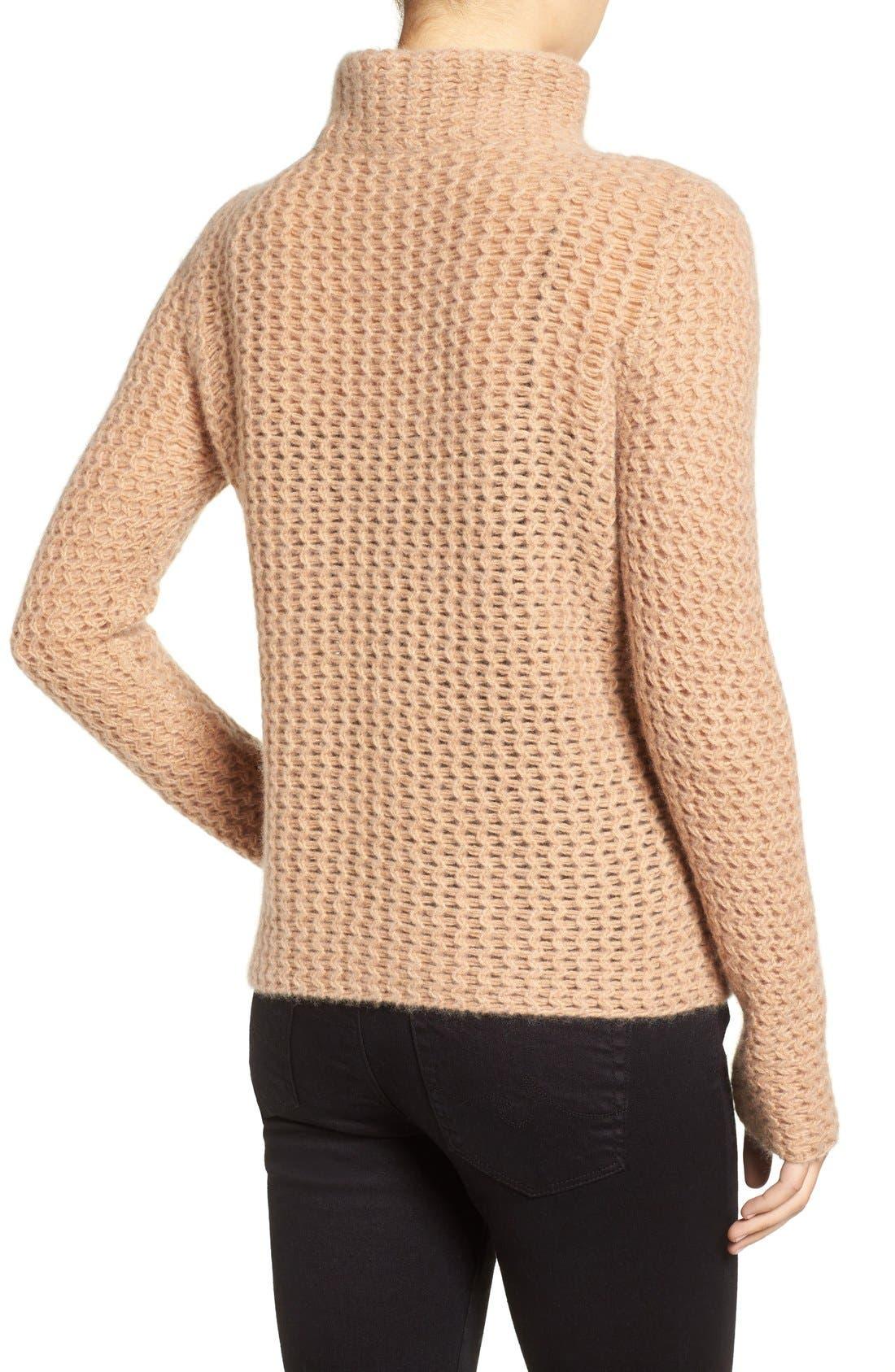 Stitch Detail Cashmere Mock Neck Sweater,                             Alternate thumbnail 5, color,