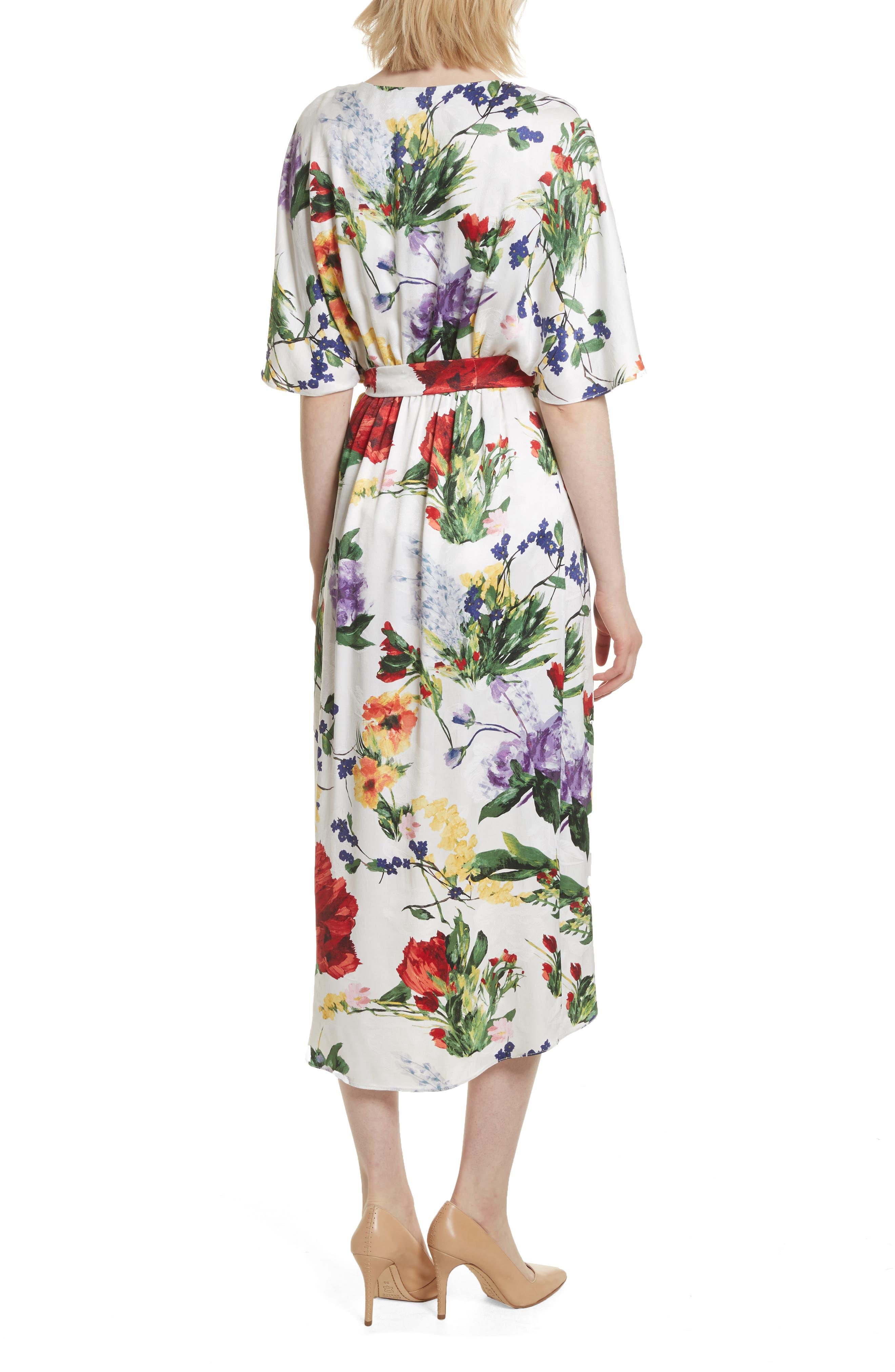 Clarine Floral Wrap Midi Dress,                             Alternate thumbnail 2, color,                             176