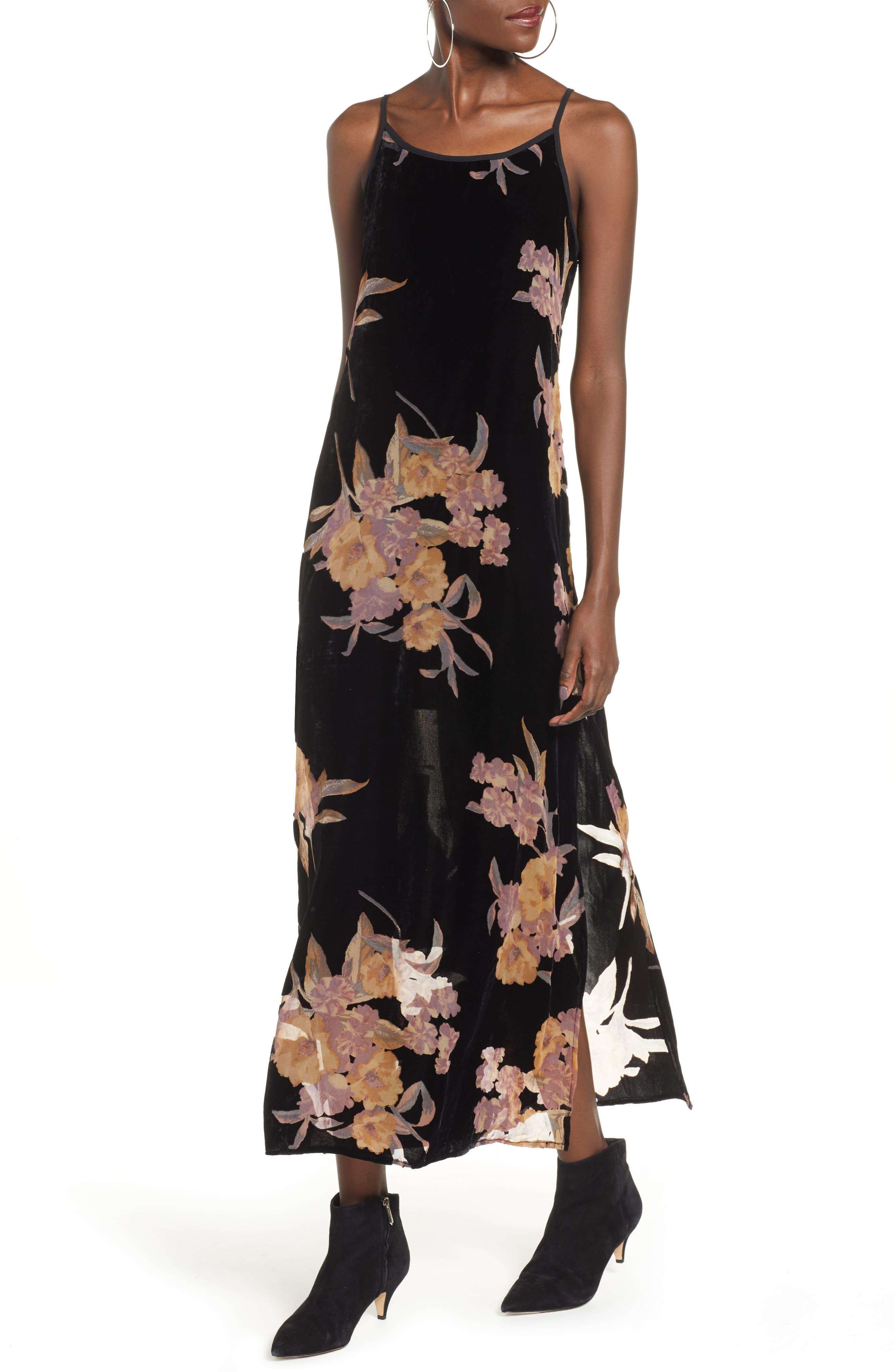 BAND OF GYPSIES,                             Mallorey Floral Print Velvet Dress,                             Main thumbnail 1, color,                             001