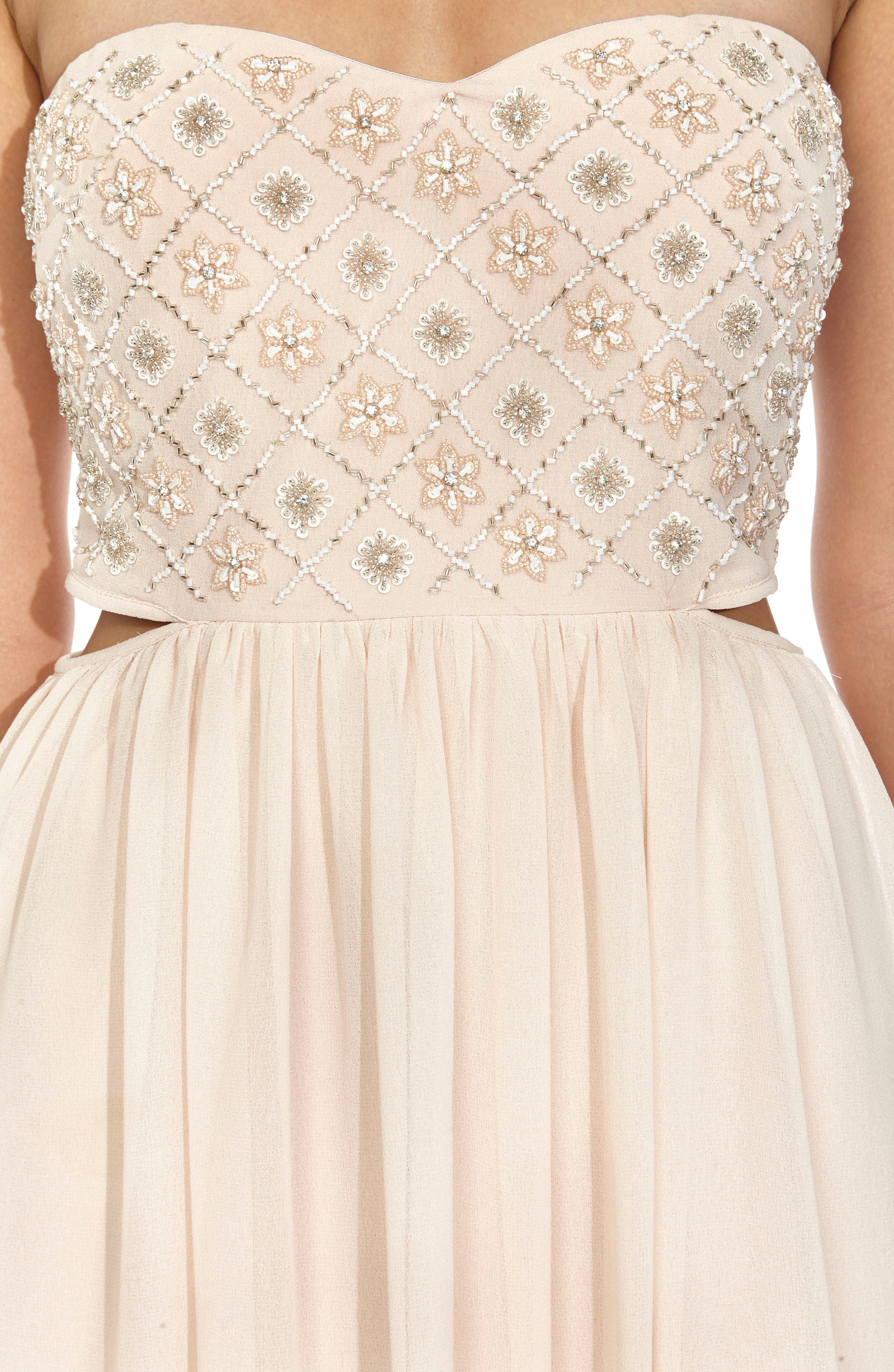 Beaded Bodice Gown,                             Alternate thumbnail 4, color,                             NUDE